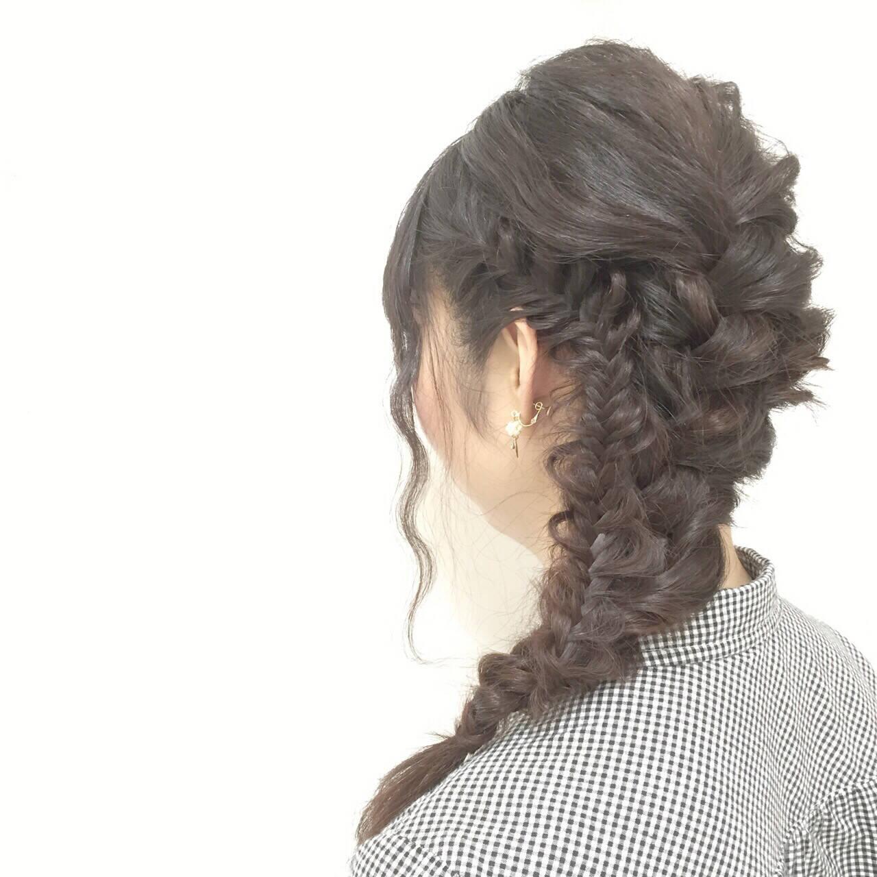 モテ髪 波ウェーブ 愛され 編み込みヘアスタイルや髪型の写真・画像