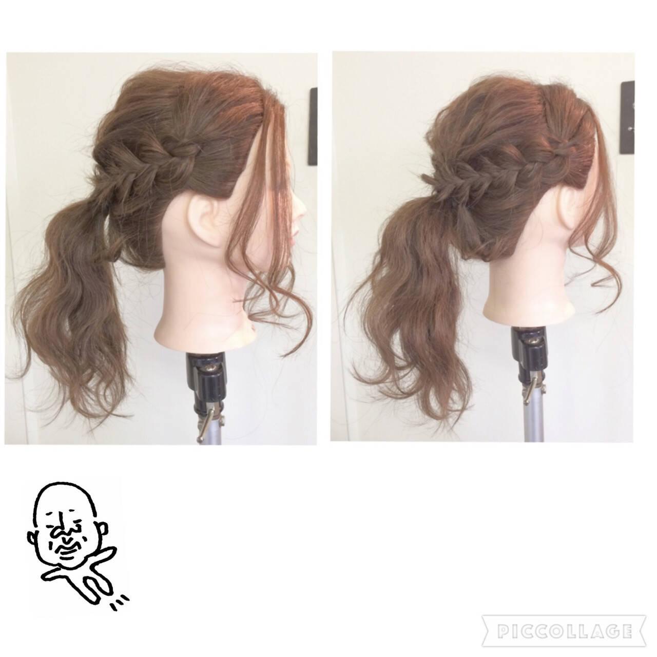 ポニーテール 三つ編み ヘアアレンジ ロングヘアスタイルや髪型の写真・画像