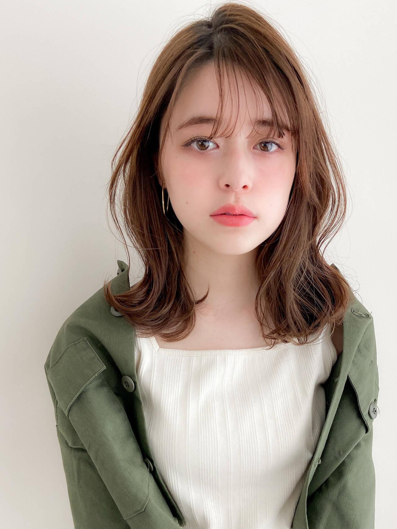 デジタルパーマ ミディアム アンニュイほつれヘア デートヘアヘアスタイルや髪型の写真・画像
