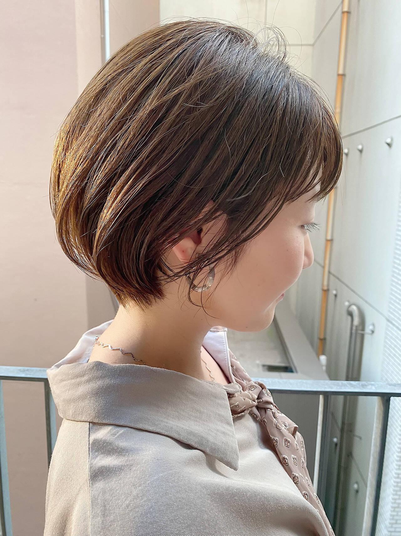 ショート ショートヘア ナチュラル ショートボブヘアスタイルや髪型の写真・画像