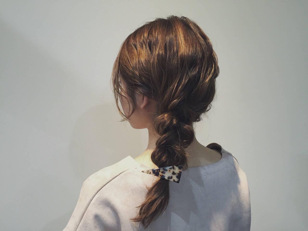 簡単ヘアアレンジ 三つ編み セミロング 無造作ヘアスタイルや髪型の写真・画像