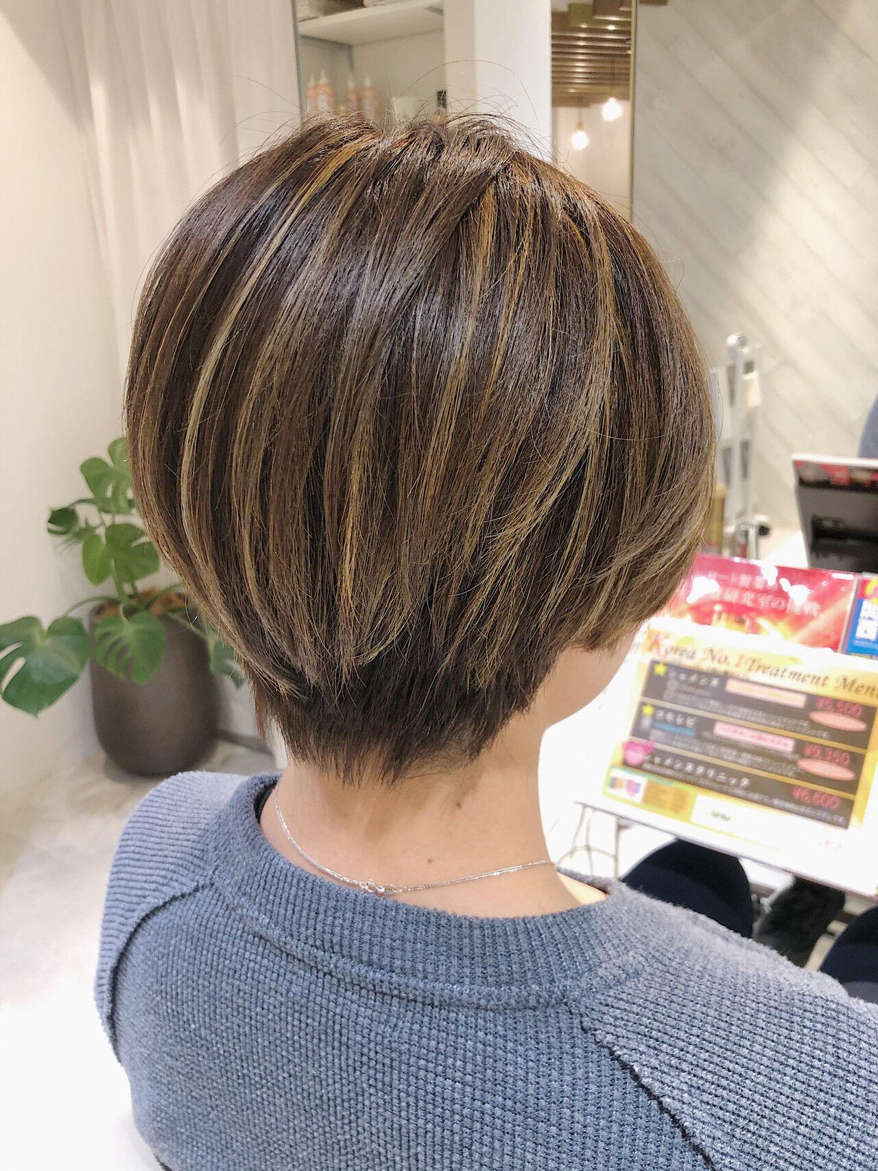 エレガント ショート バレイヤージュ ベリーショートヘアスタイルや髪型の写真・画像