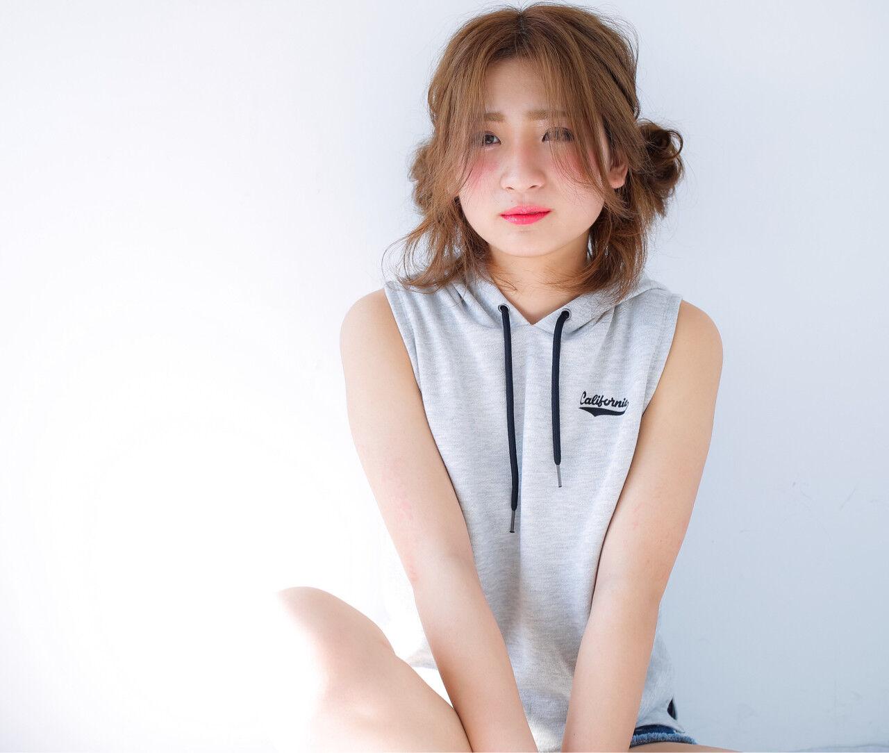 ミディアム ショート ピュア ヘアアレンジヘアスタイルや髪型の写真・画像