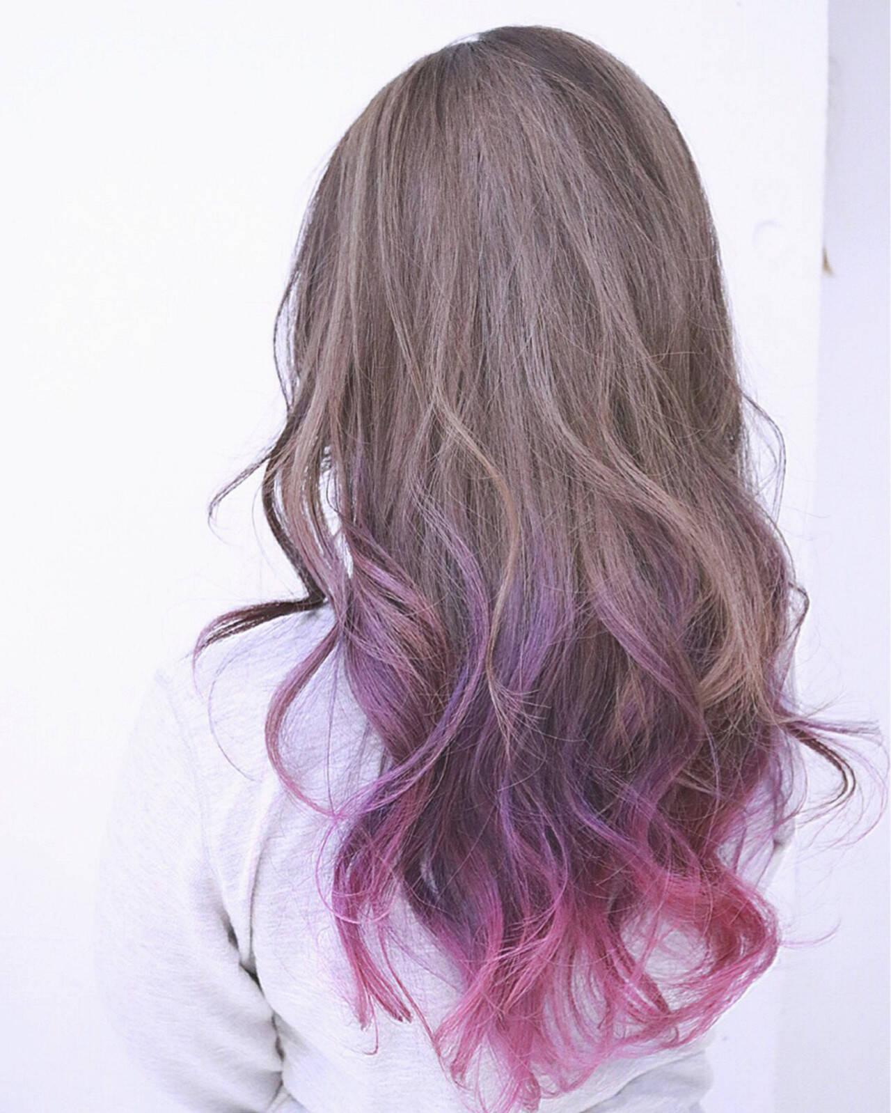 パープル ロング ピンク ストリートヘアスタイルや髪型の写真・画像