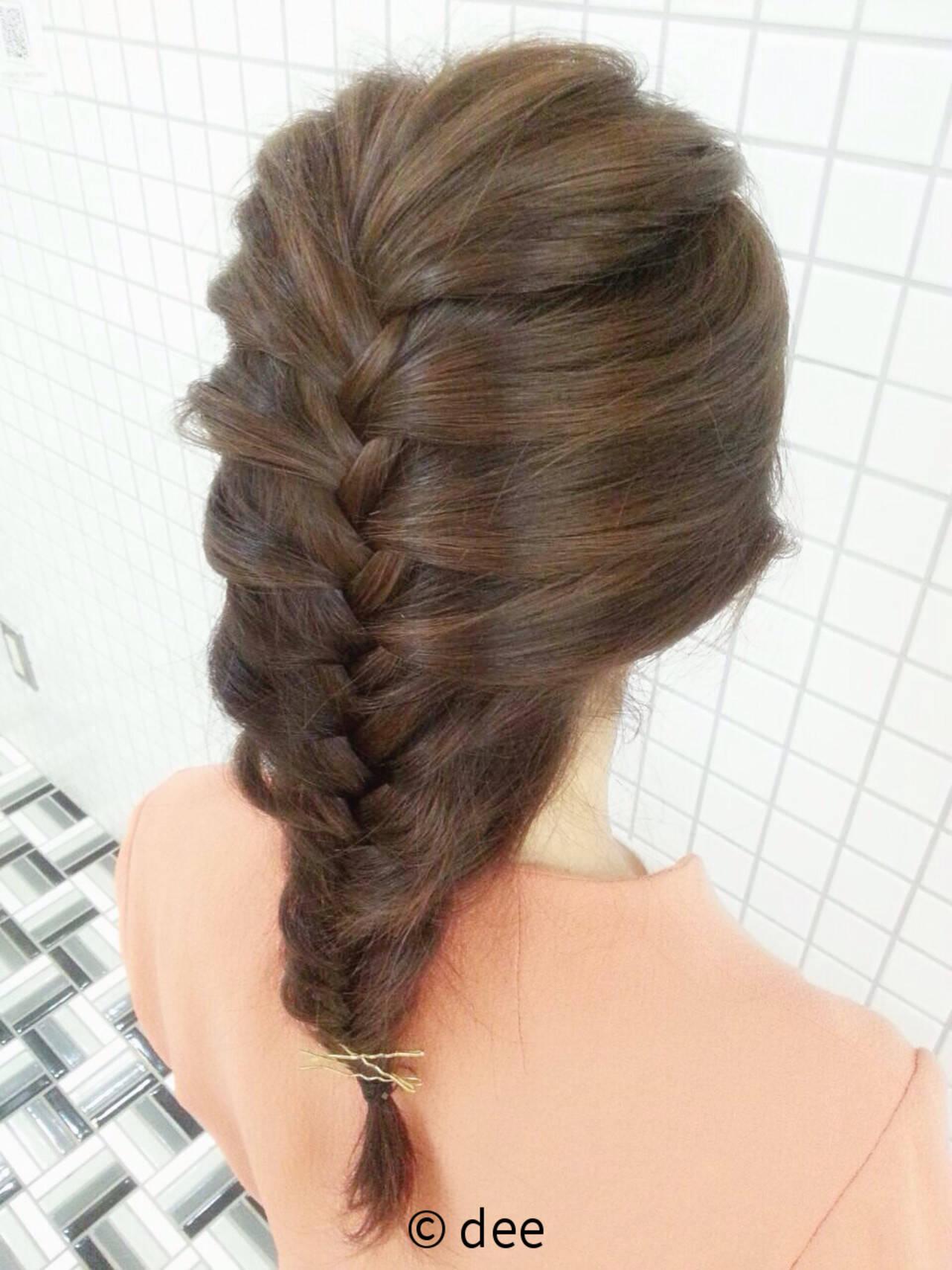 ロング 編み込み 簡単ヘアアレンジ ヘアピンヘアスタイルや髪型の写真・画像