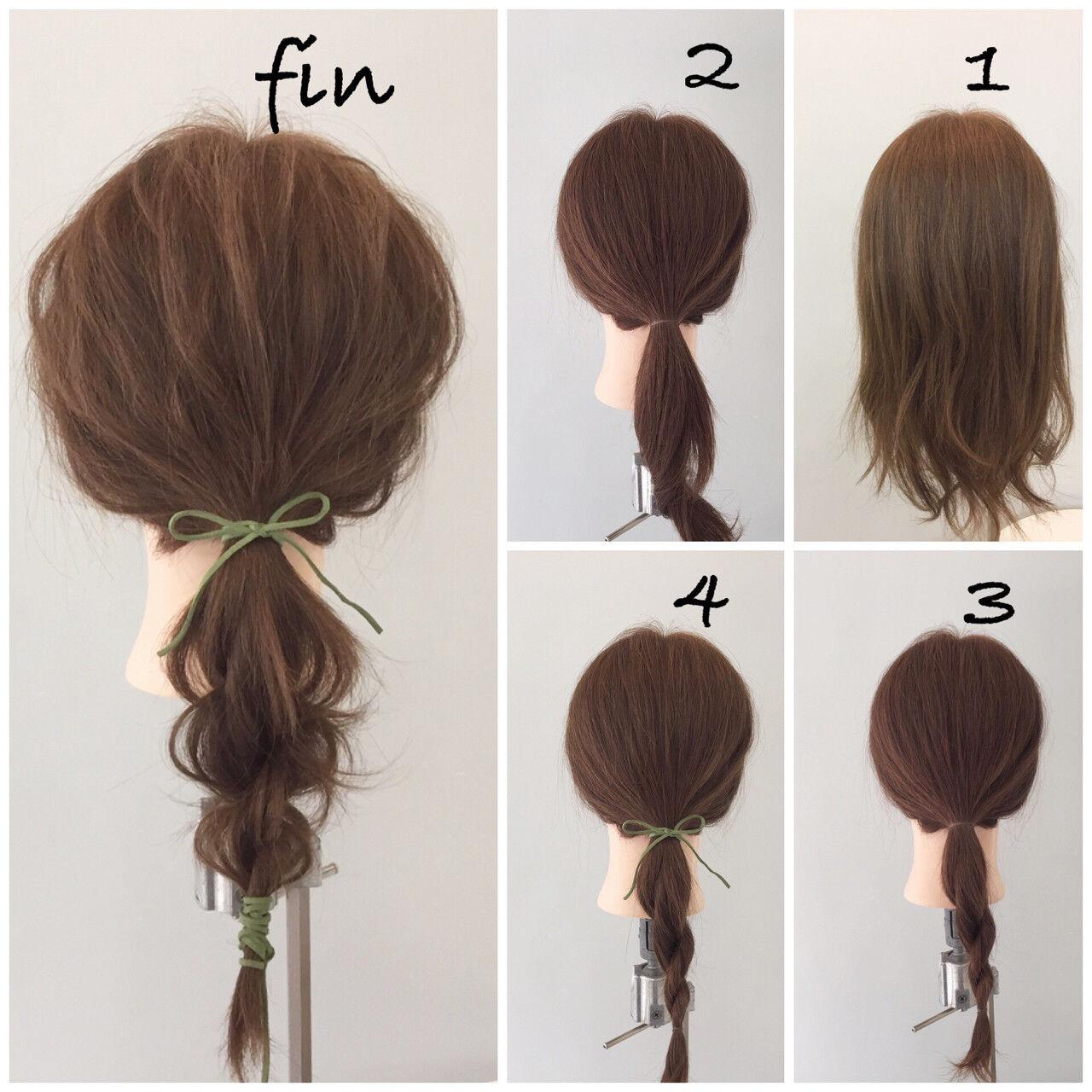 ショート 簡単 ポニーテール 簡単ヘアアレンジヘアスタイルや髪型の写真・画像