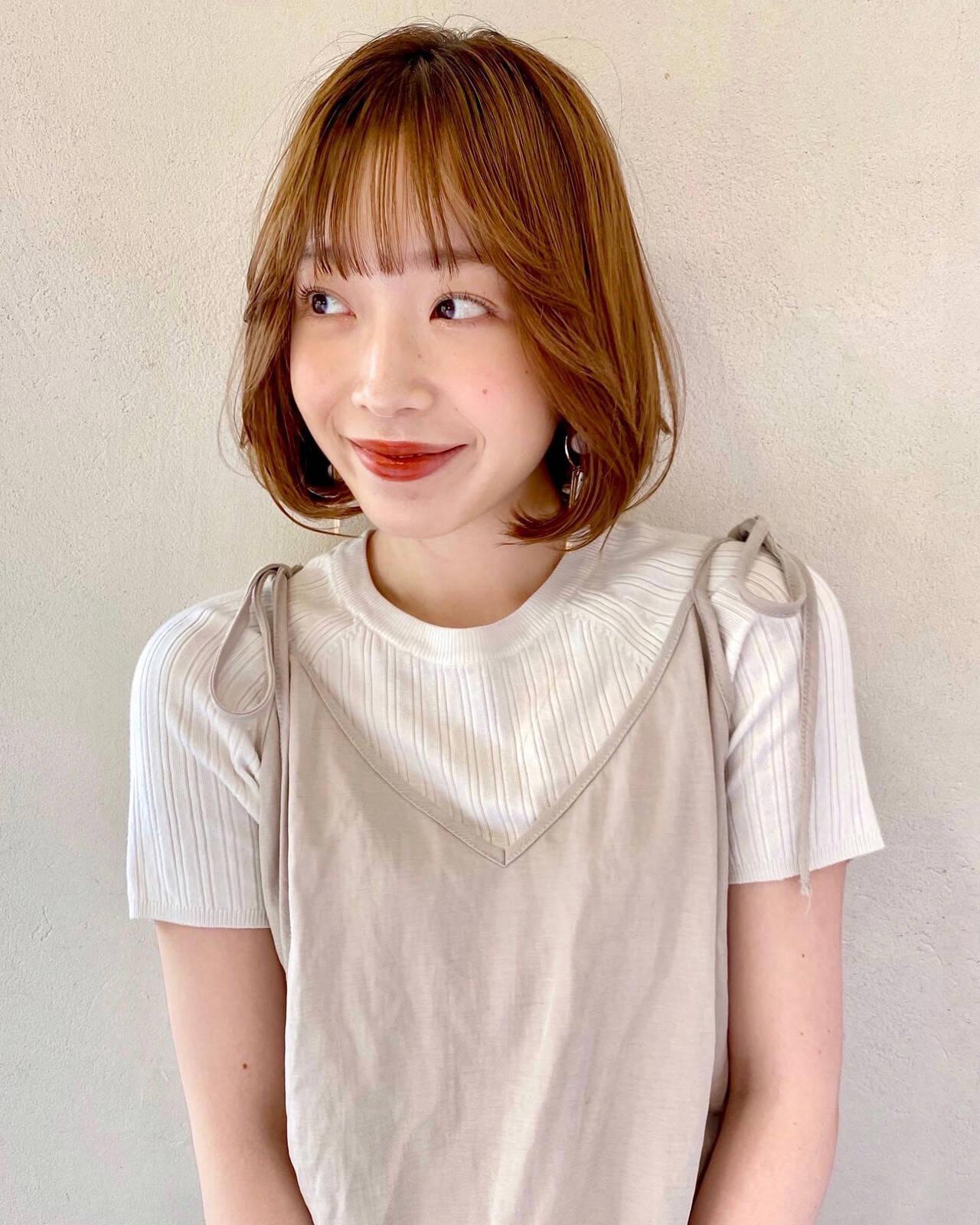 ボブ 韓国ヘア ナチュラル 韓国風ヘアーヘアスタイルや髪型の写真・画像
