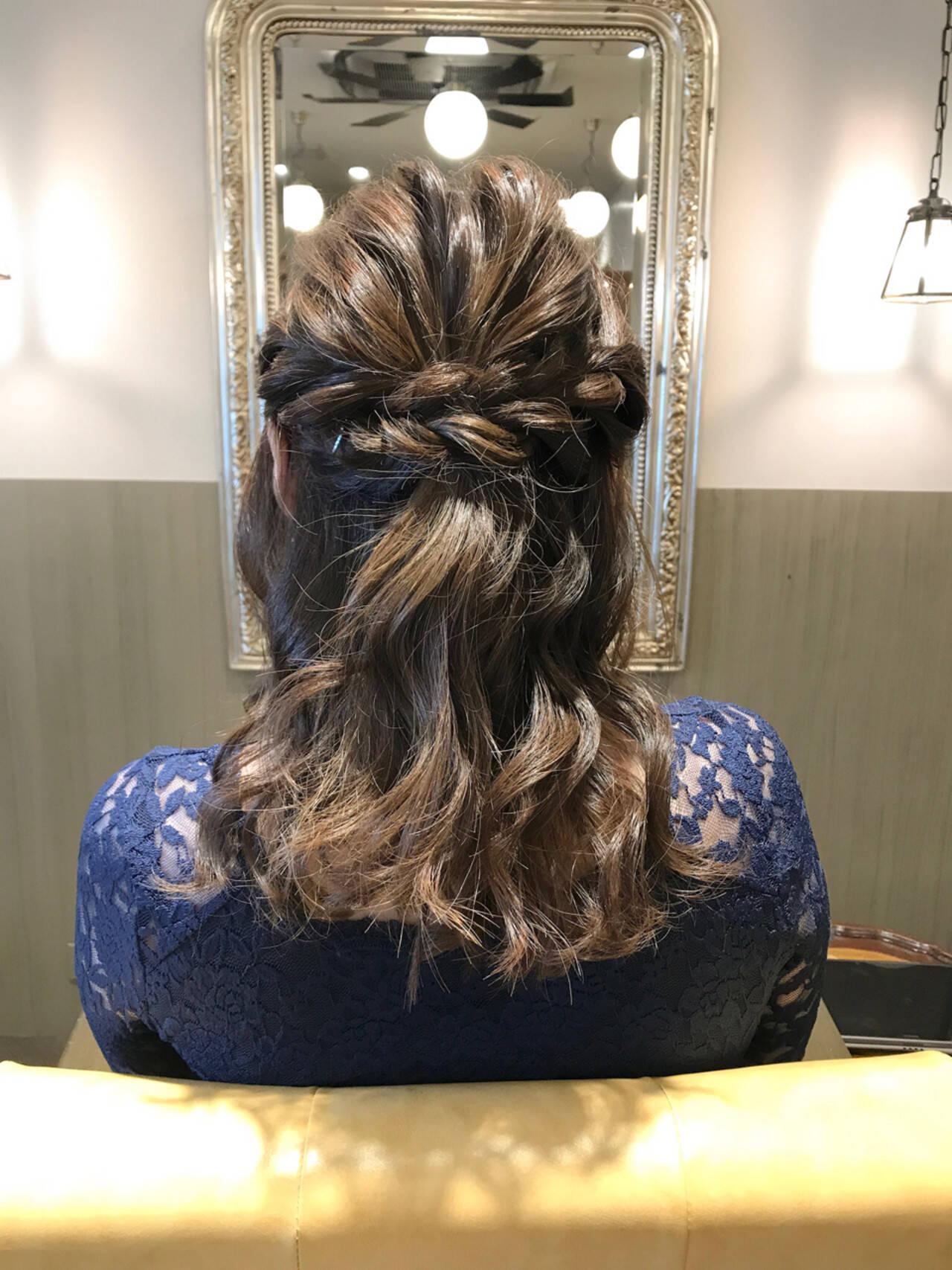 結婚式 ハーフアップ デート ヘアアレンジヘアスタイルや髪型の写真・画像