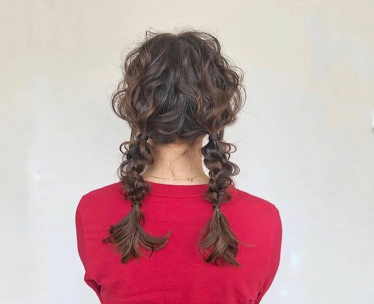 成人式 ヘアアレンジ デート セミロングヘアスタイルや髪型の写真・画像