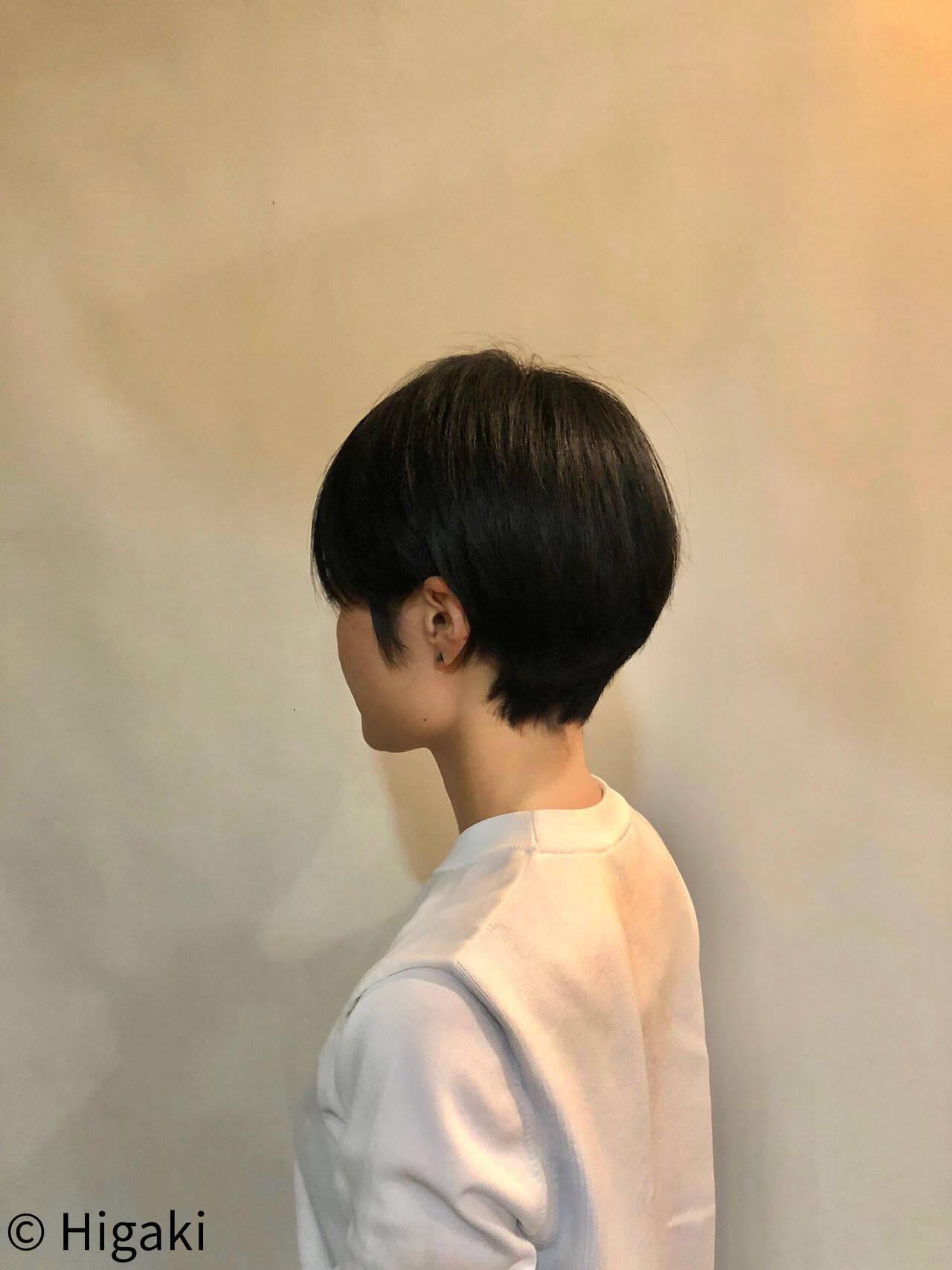 モード 黒髪 ショート シンプルヘアスタイルや髪型の写真・画像