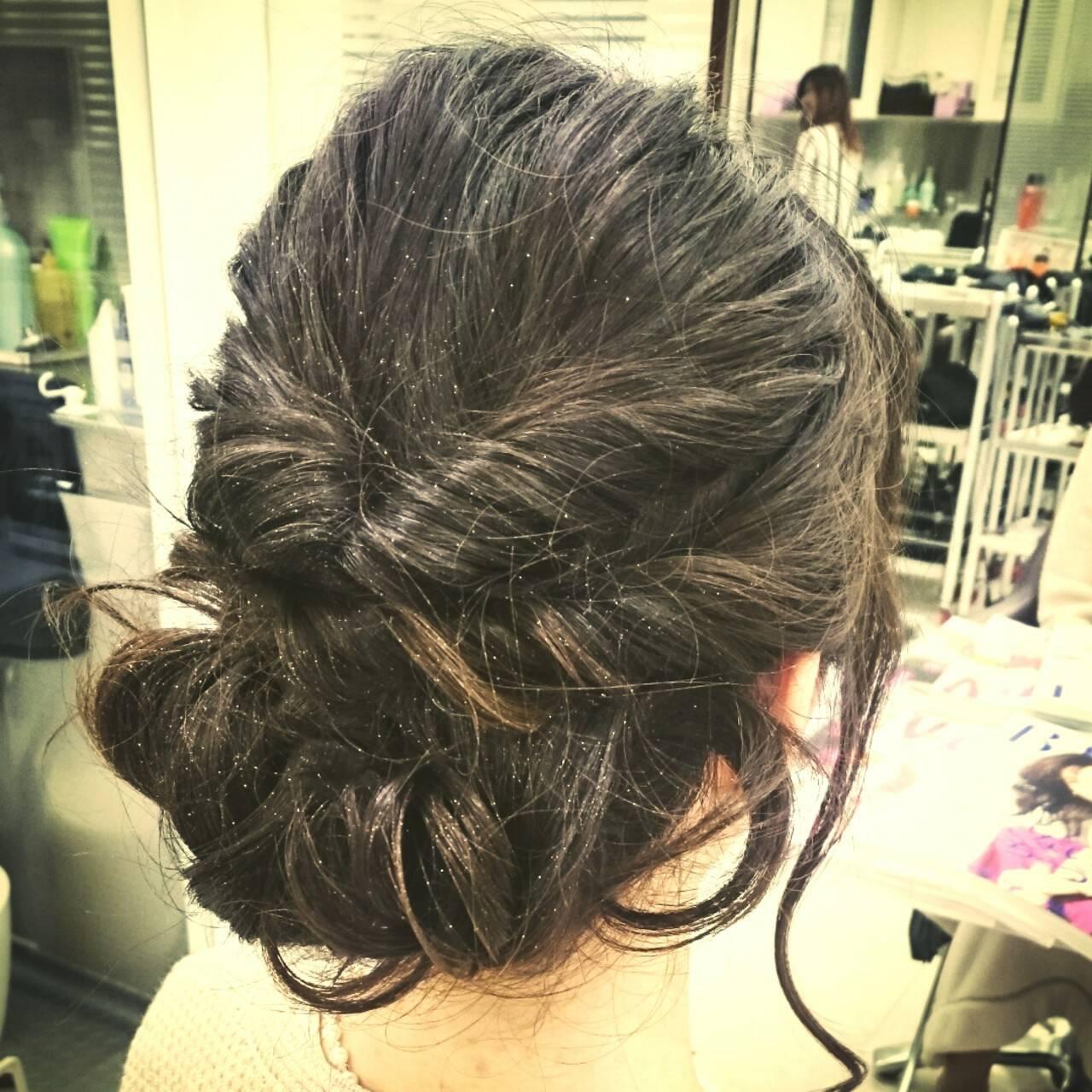 結婚式 ヘアアレンジ 大人かわいい セミロングヘアスタイルや髪型の写真・画像