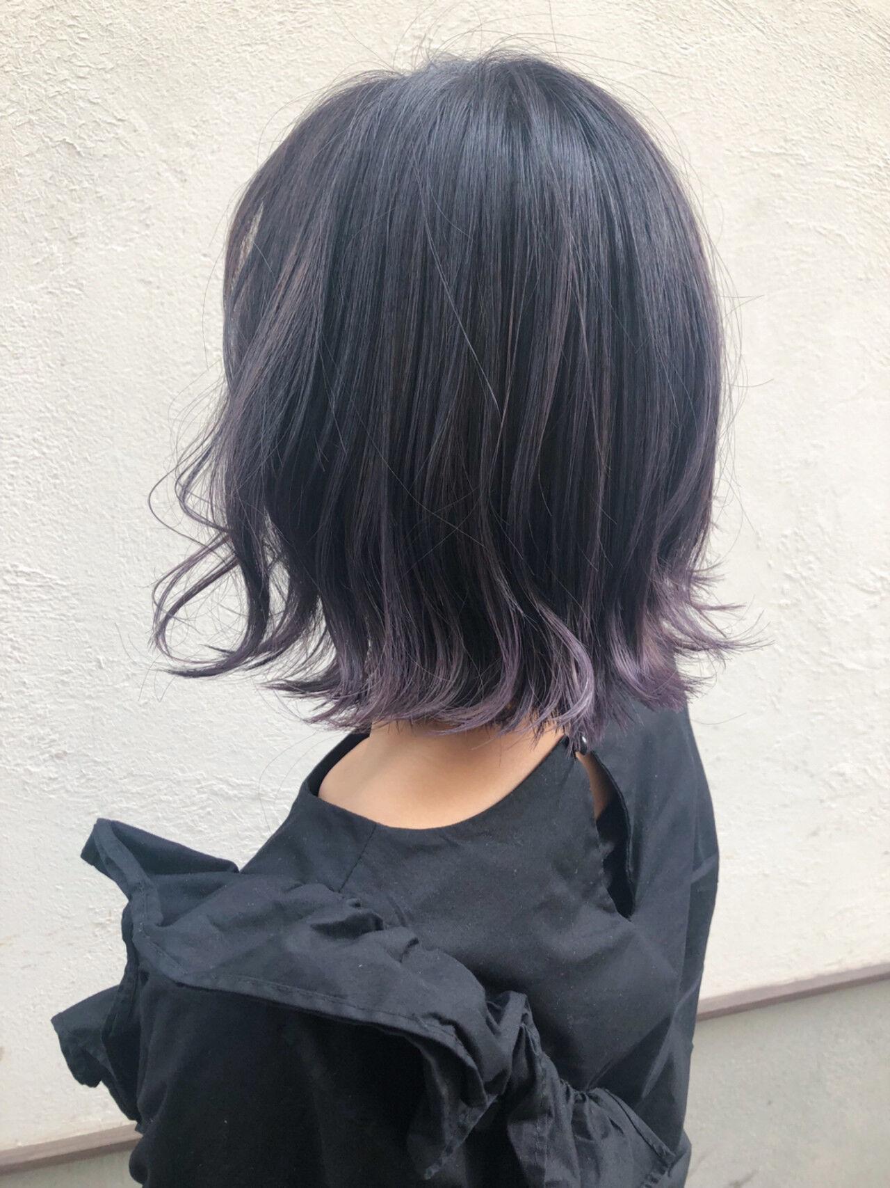 グラデーションカラー パープル 簡単ヘアアレンジ ボブヘアスタイルや髪型の写真・画像