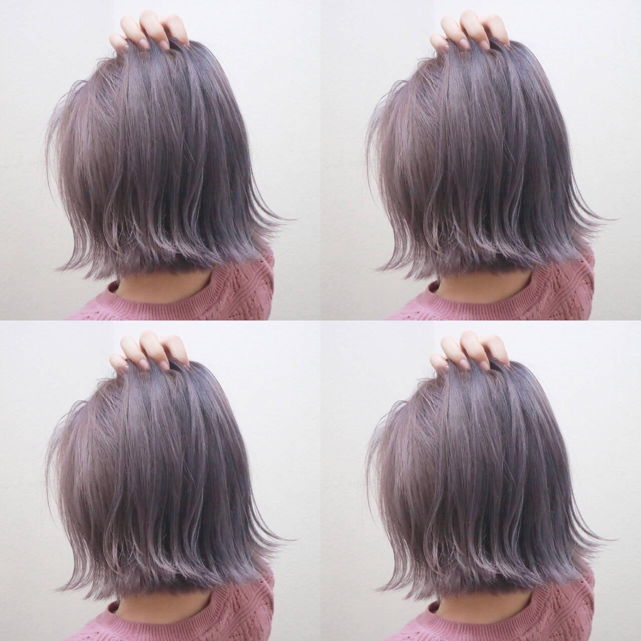 外ハネ ボブ 切りっぱなし ストリートヘアスタイルや髪型の写真・画像