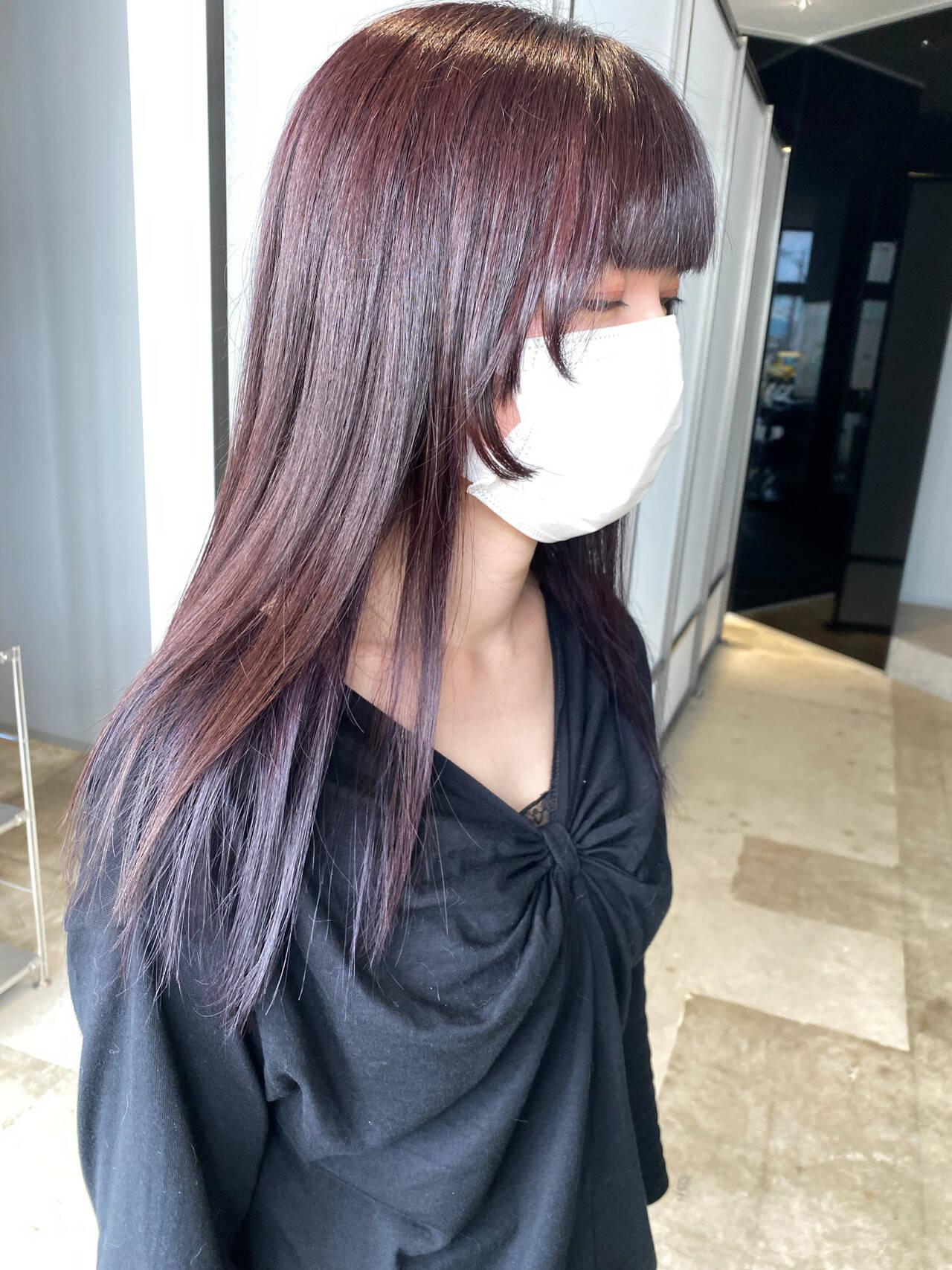 インナーカラーパープル ラベンダーグレー インナーカラー ナチュラルヘアスタイルや髪型の写真・画像