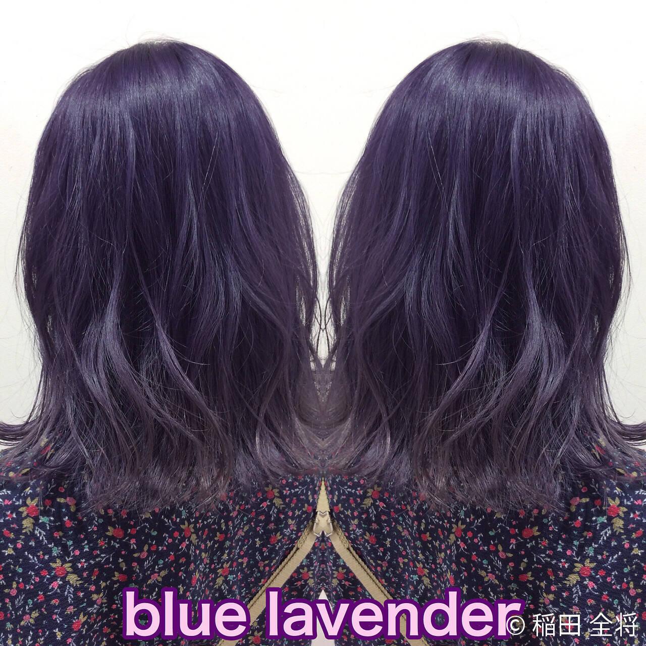 ブルーラベンダー ラベンダーアッシュ ミディアム ヘアカラーヘアスタイルや髪型の写真・画像