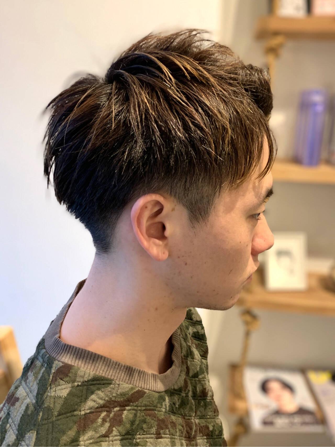 ショート コントラストハイライト メンズ 刈り上げヘアスタイルや髪型の写真・画像