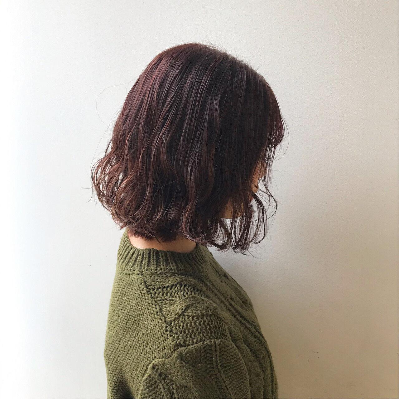 切りっぱなしボブ ナチュラル ハイライト 暖色ヘアスタイルや髪型の写真・画像