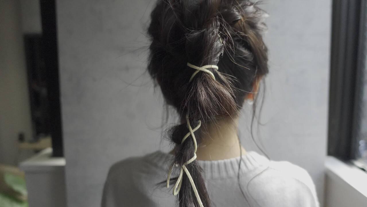 ミディアム 前髪パッツン ポニーテールアレンジ 編みおろしヘアヘアスタイルや髪型の写真・画像