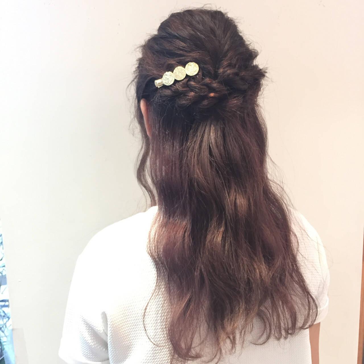 簡単ヘアアレンジ ロング デート 女子会ヘアスタイルや髪型の写真・画像