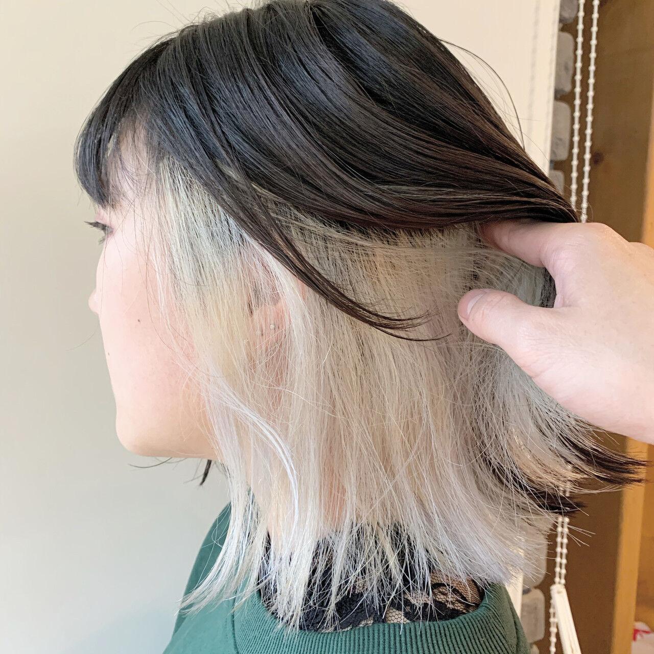 切りっぱなしボブ ストリート ボブ インナーカラーヘアスタイルや髪型の写真・画像