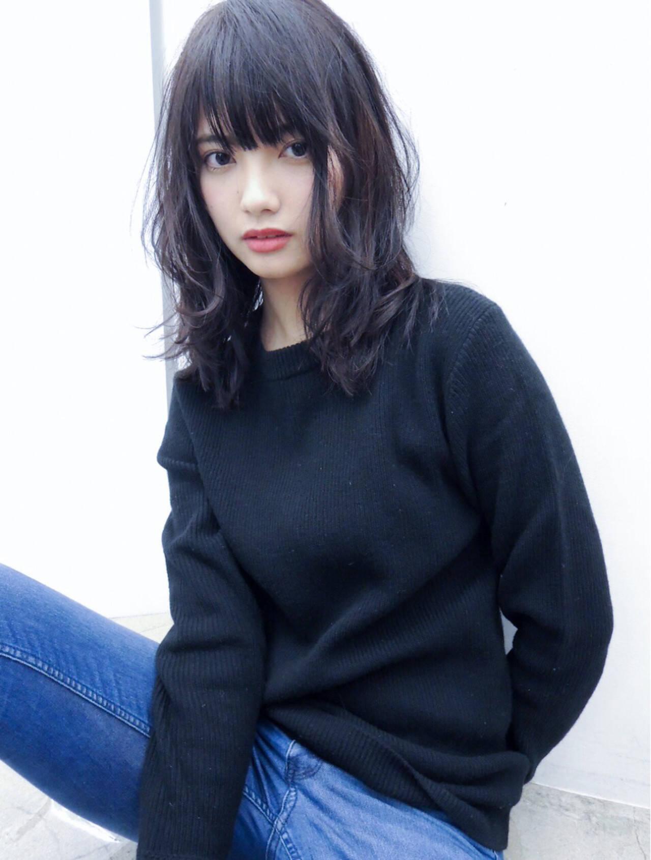 黒髪 デジタルパーマ 前髪あり パーマヘアスタイルや髪型の写真・画像