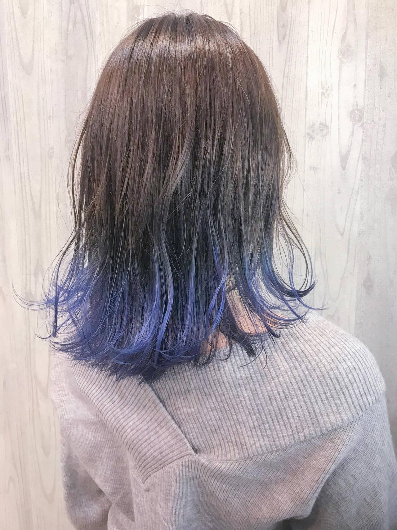 ブリーチカラー 裾カラー 外国人風 モードヘアスタイルや髪型の写真・画像