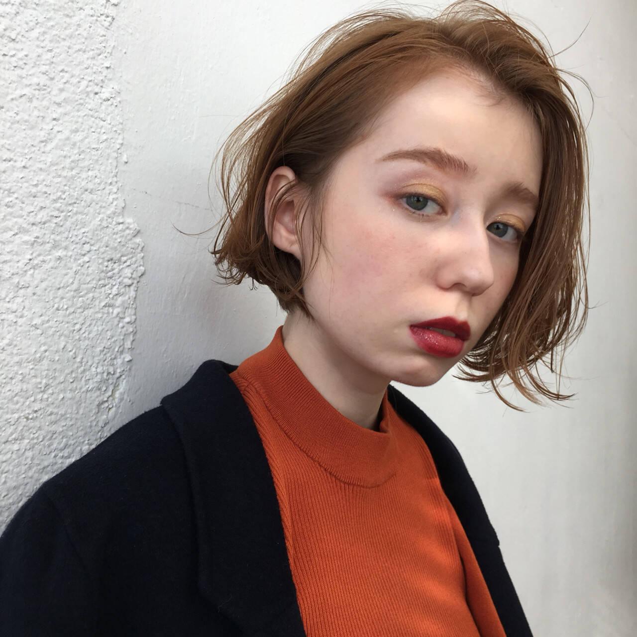 ボブ 抜け感 オレンジ イエローヘアスタイルや髪型の写真・画像