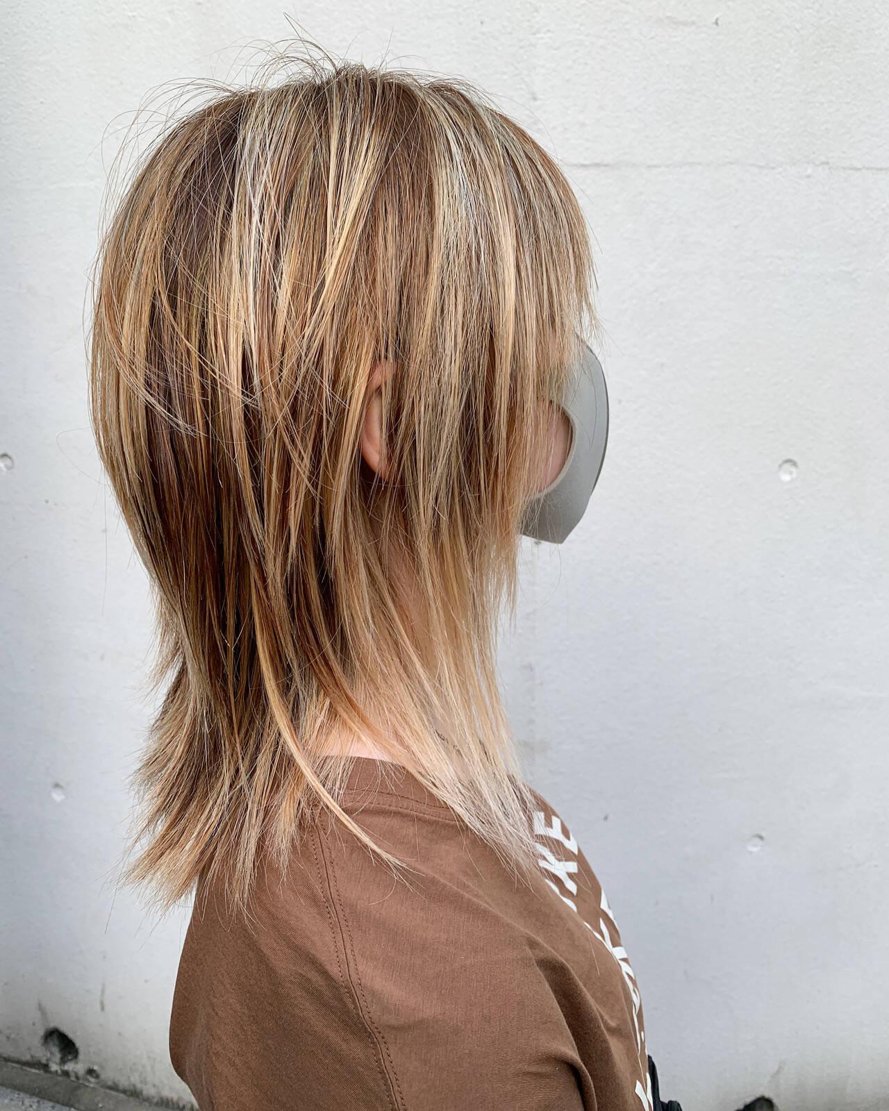 バレイヤージュ ハイライト ブリーチ ホワイトハイライトヘアスタイルや髪型の写真・画像