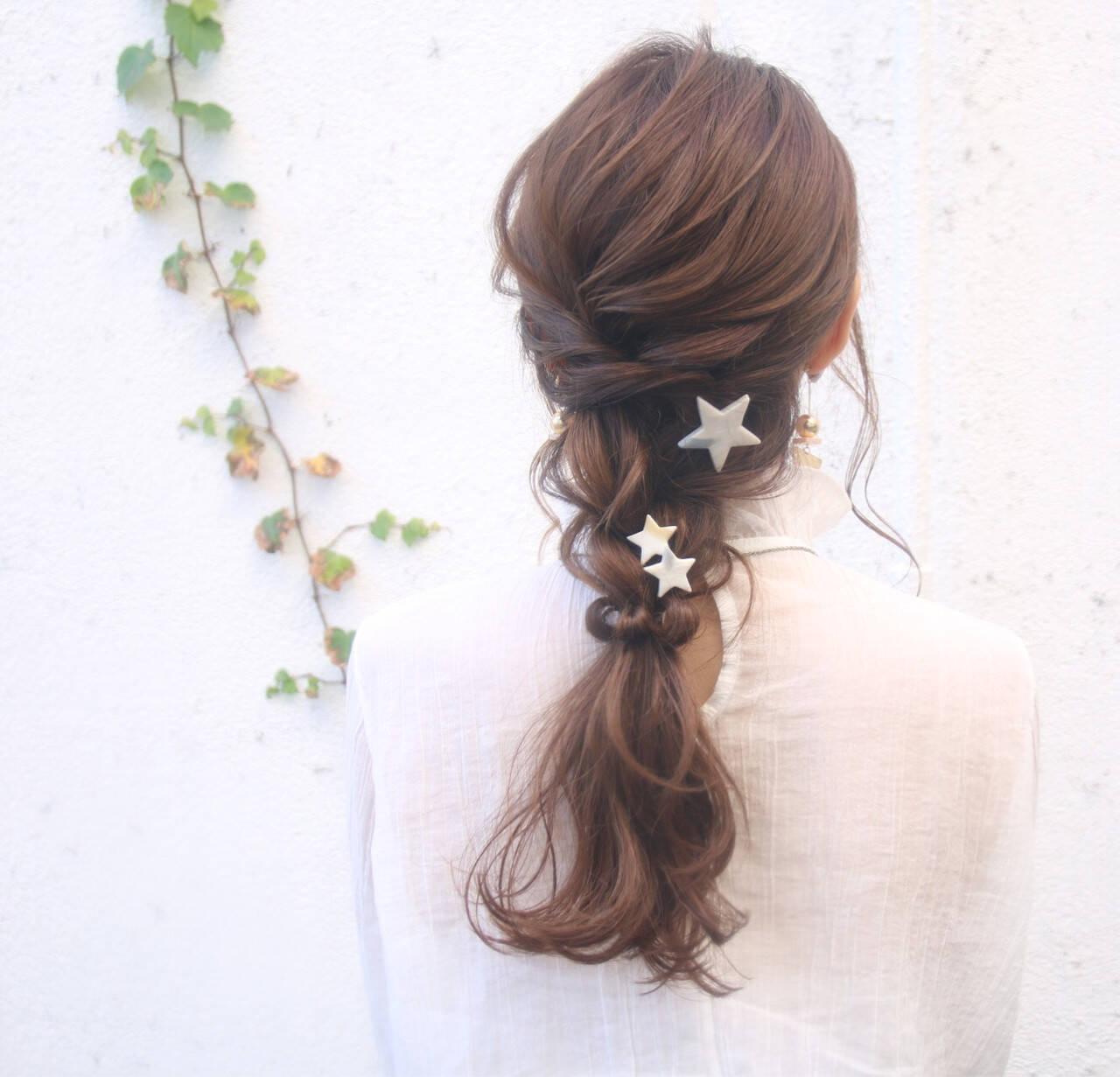 デート 結婚式 ロング ナチュラルヘアスタイルや髪型の写真・画像