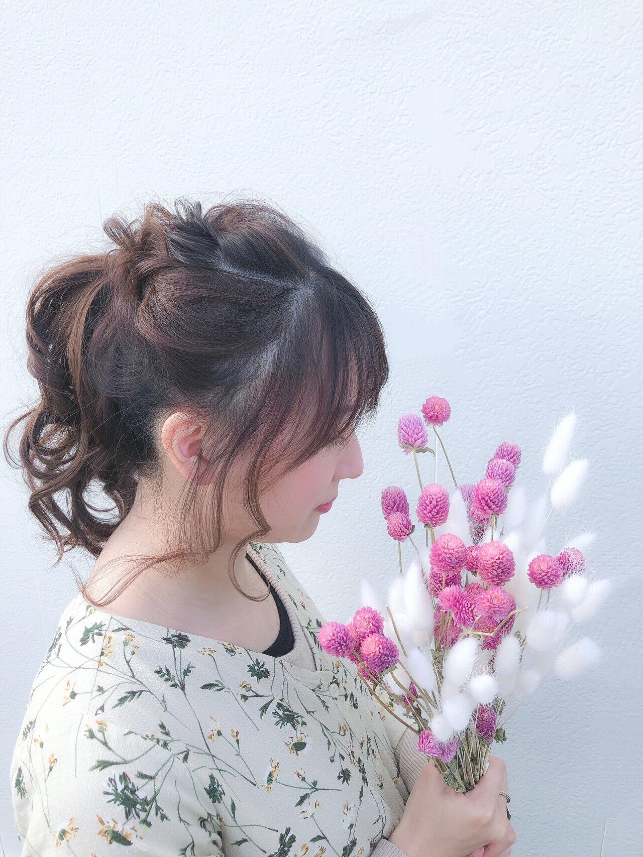 結婚式 セミロング ポニーテール デートヘアスタイルや髪型の写真・画像