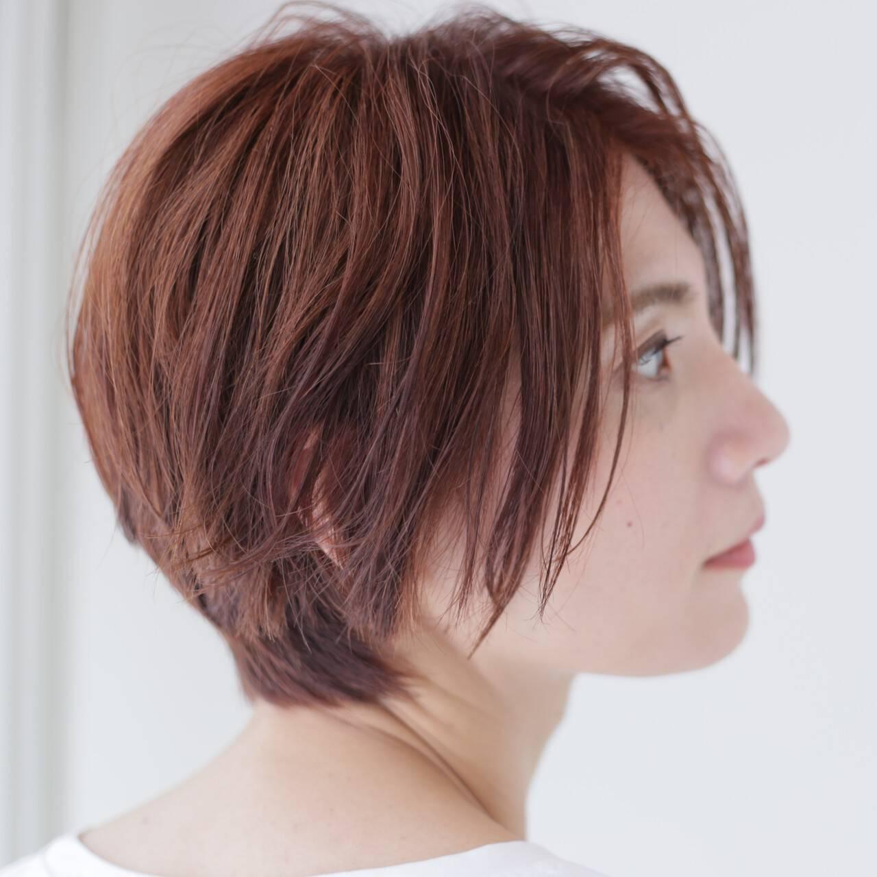 カッパー ショートボブ 暖色 ショートヘアスタイルや髪型の写真・画像