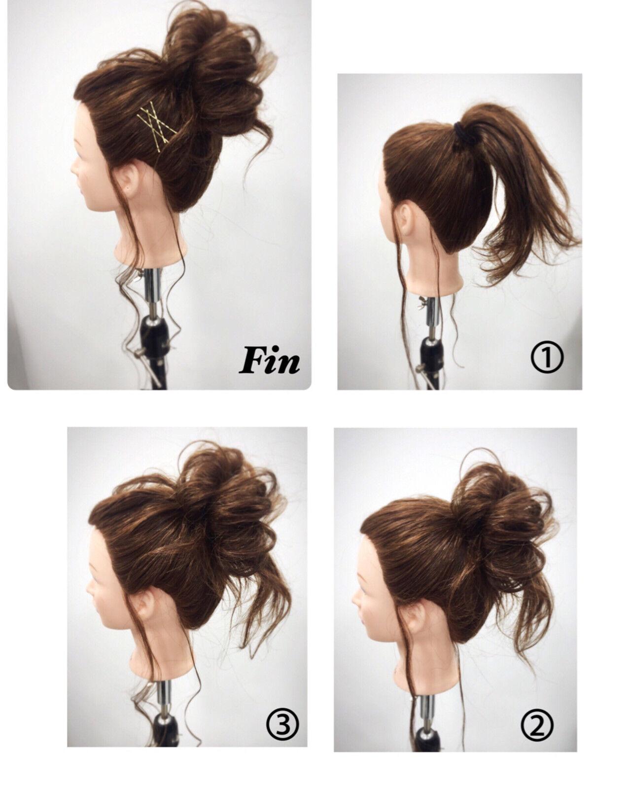 セミロング ハーフアップ 簡単ヘアアレンジ フェミニンヘアスタイルや髪型の写真・画像
