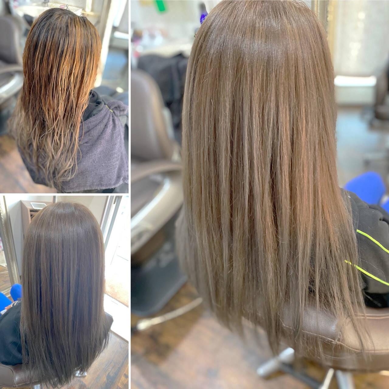 コンサバ 3Dハイライト レイヤーロングヘア ブリーチカラーヘアスタイルや髪型の写真・画像