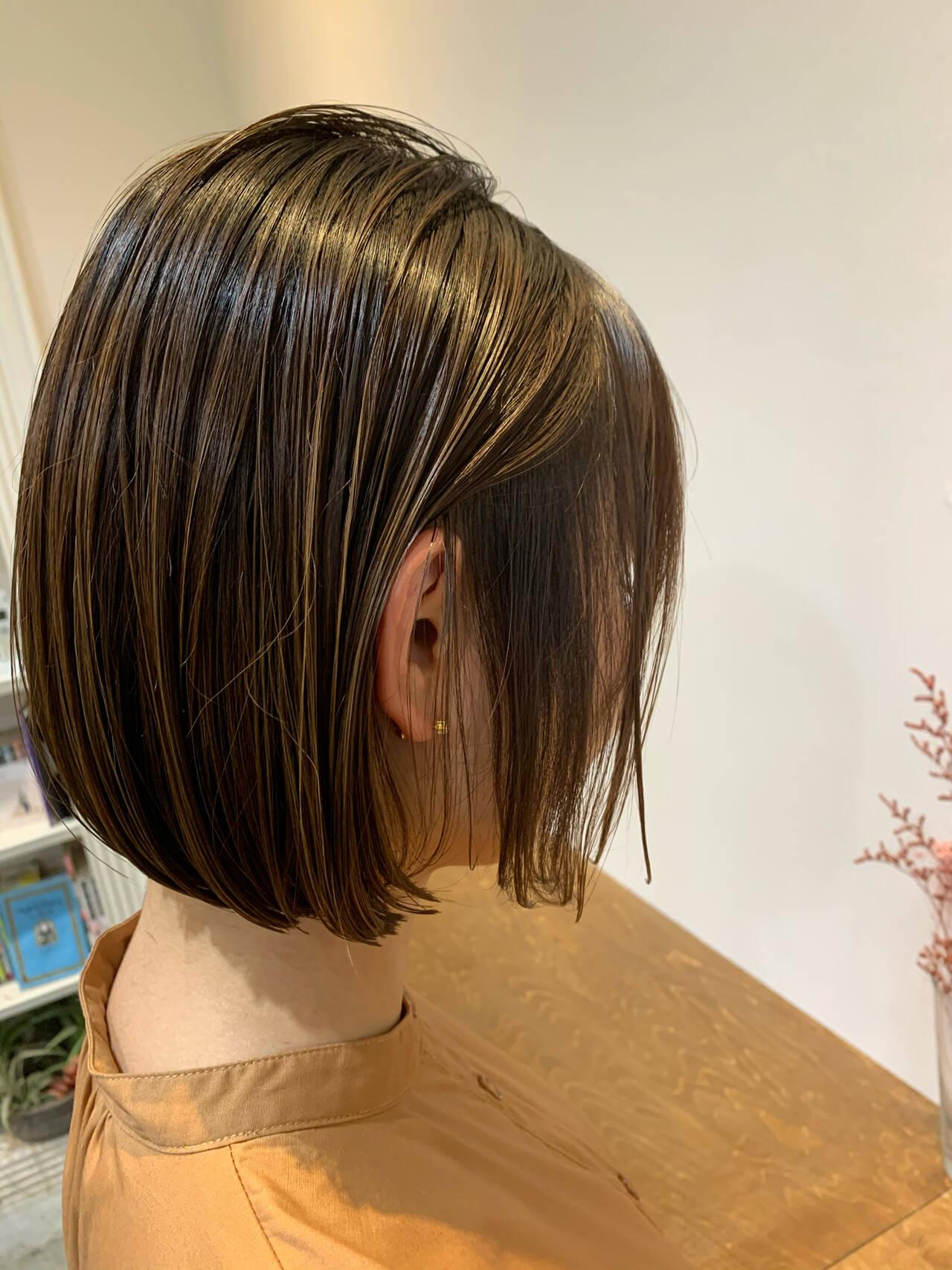 N.オイル ショートヘア 切りっぱなしボブ ミニボブヘアスタイルや髪型の写真・画像