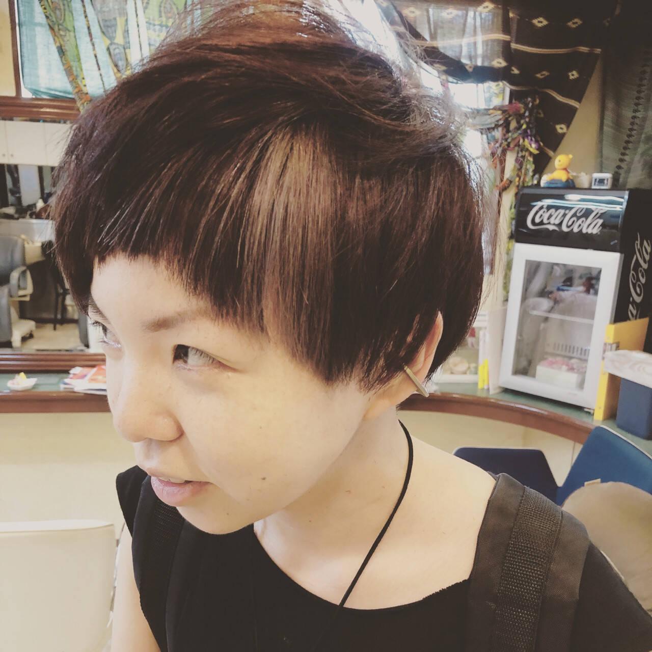 パープル 坊主 ショート ハイライトヘアスタイルや髪型の写真・画像