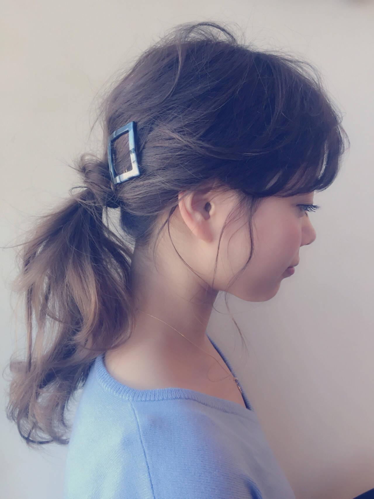 ポニーテール ロング ヘアアレンジ 簡単ヘアアレンジヘアスタイルや髪型の写真・画像