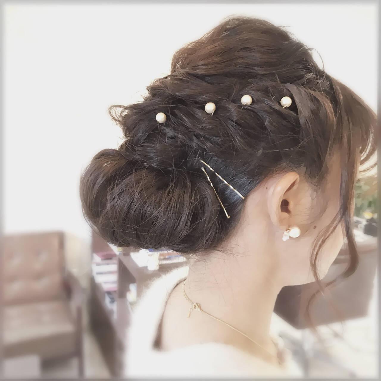 ヘアアクセ 結婚式 ヘアピン ナチュラルヘアスタイルや髪型の写真・画像