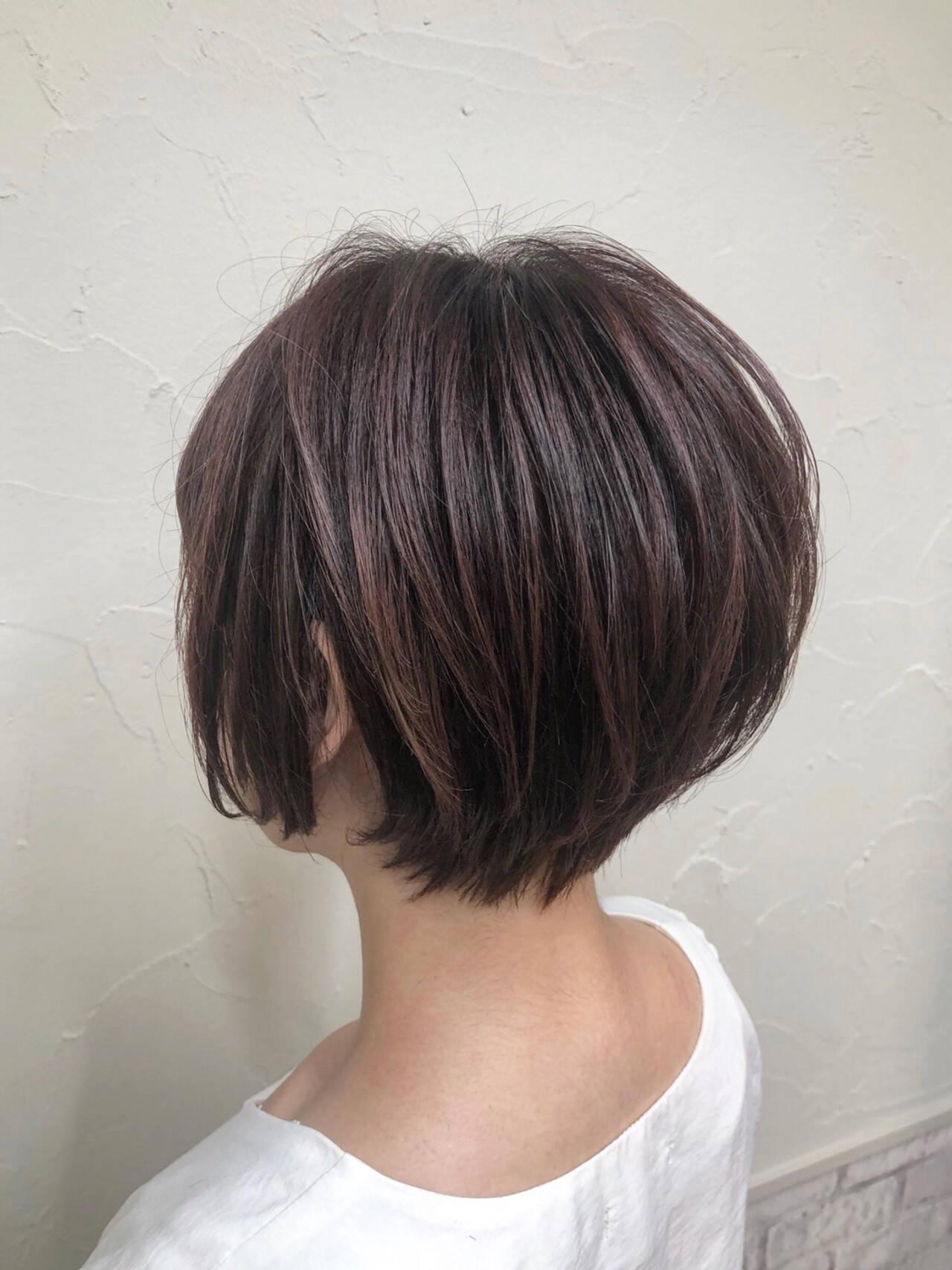 ショート ショートボブ ミニボブ 秋ブラウンヘアスタイルや髪型の写真・画像