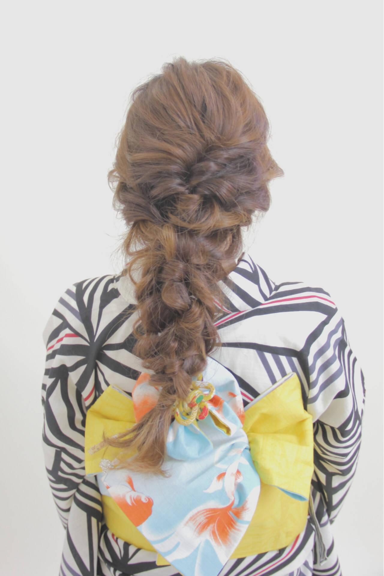 編み込み 和装 ヘアアレンジ ロングヘアスタイルや髪型の写真・画像