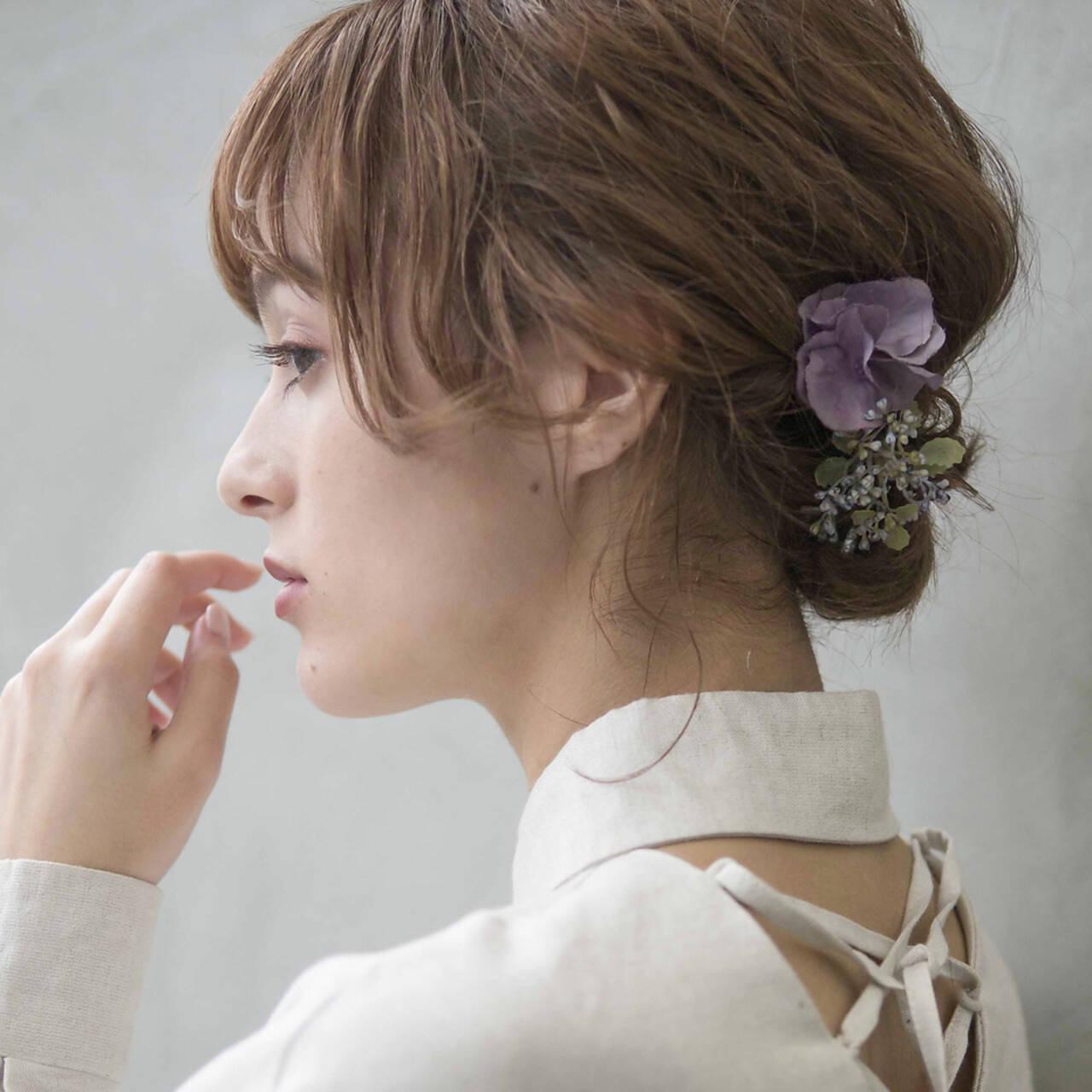簡単ヘアアレンジ 結婚式 成人式 アンニュイほつれヘアヘアスタイルや髪型の写真・画像