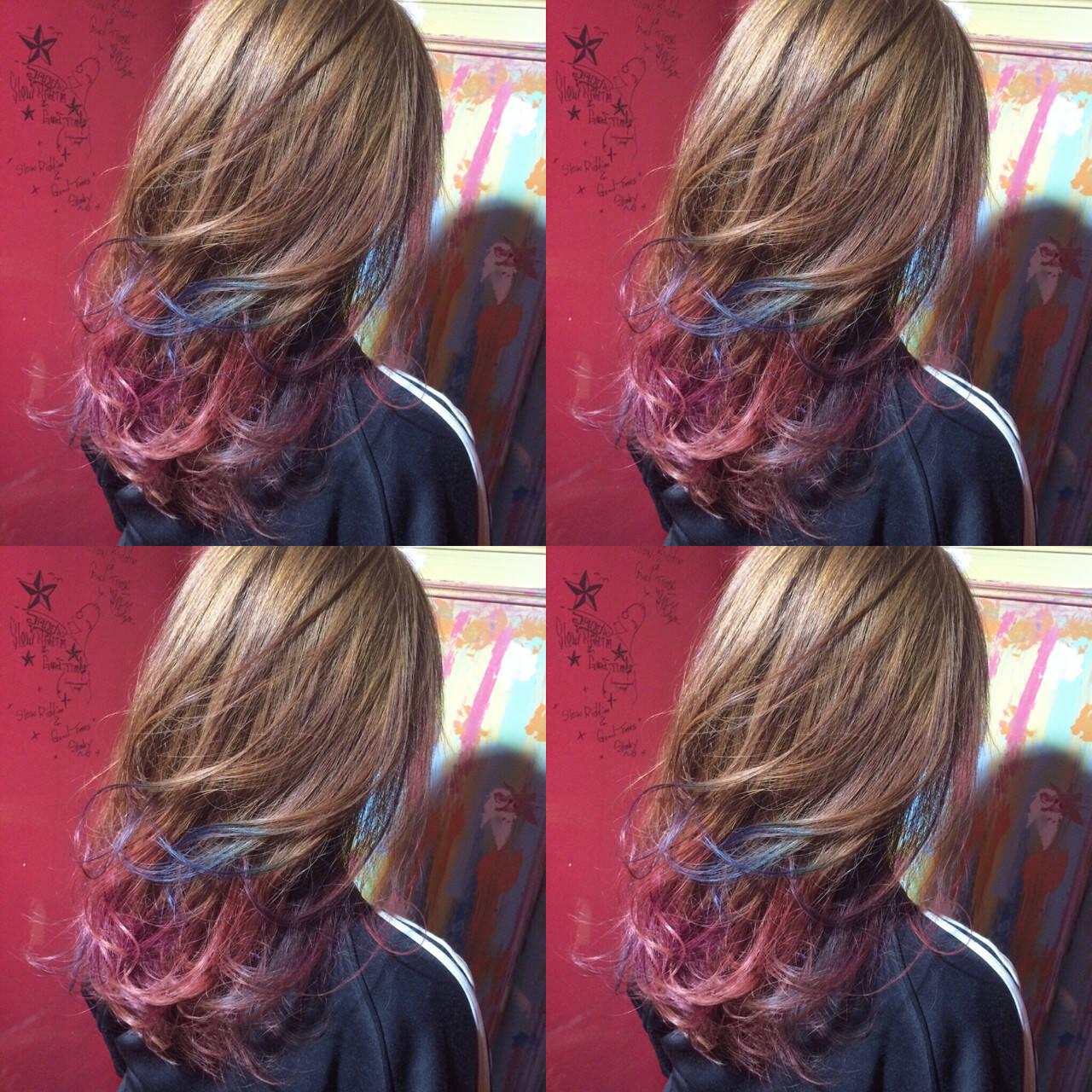 ハイトーン セミロング グラデーションカラー アッシュヘアスタイルや髪型の写真・画像