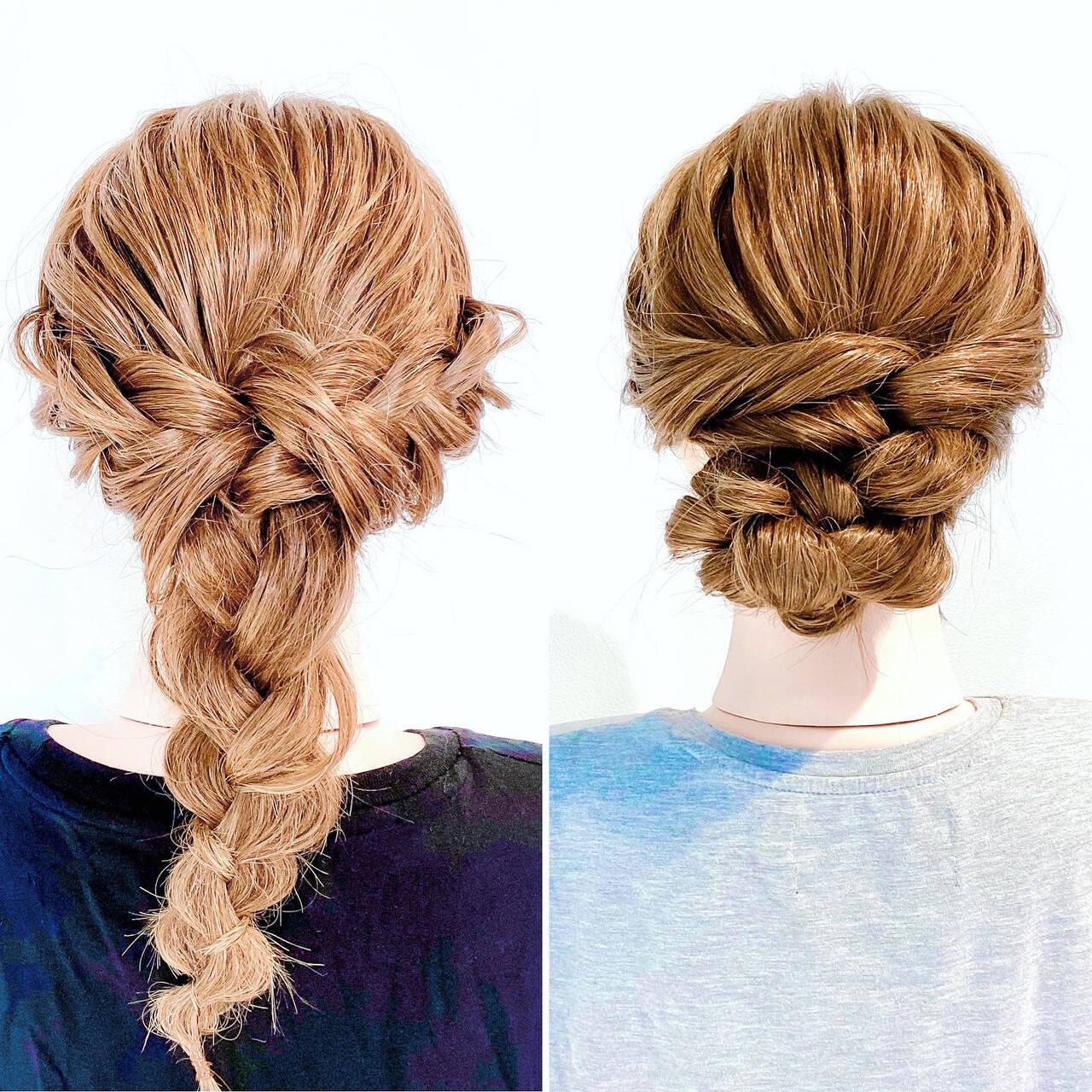 三つ編み ヘアセット アップスタイル 編みおろしヘアスタイルや髪型の写真・画像