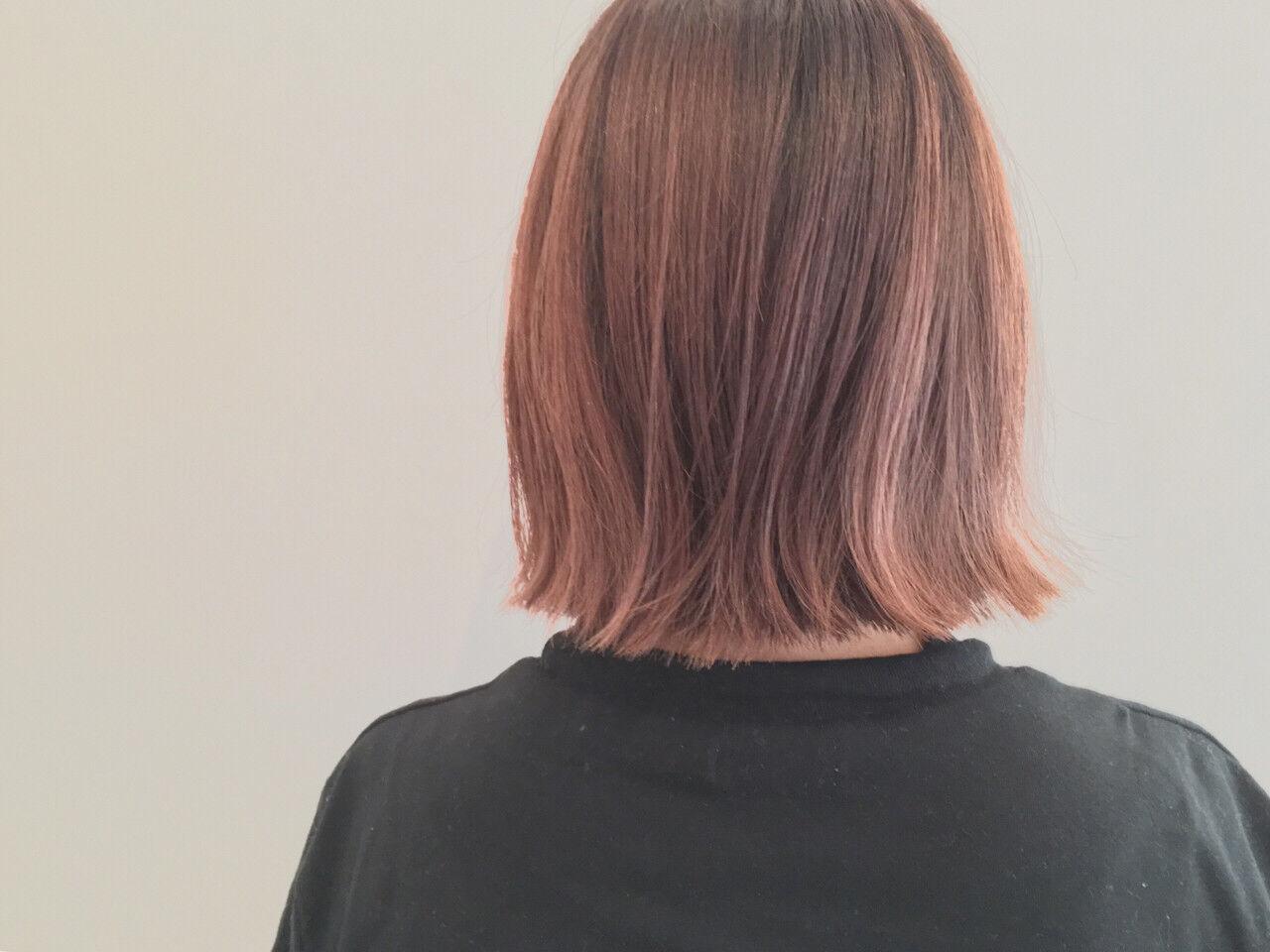 グラデーションカラー ボブ 暗髪 ハイライトヘアスタイルや髪型の写真・画像