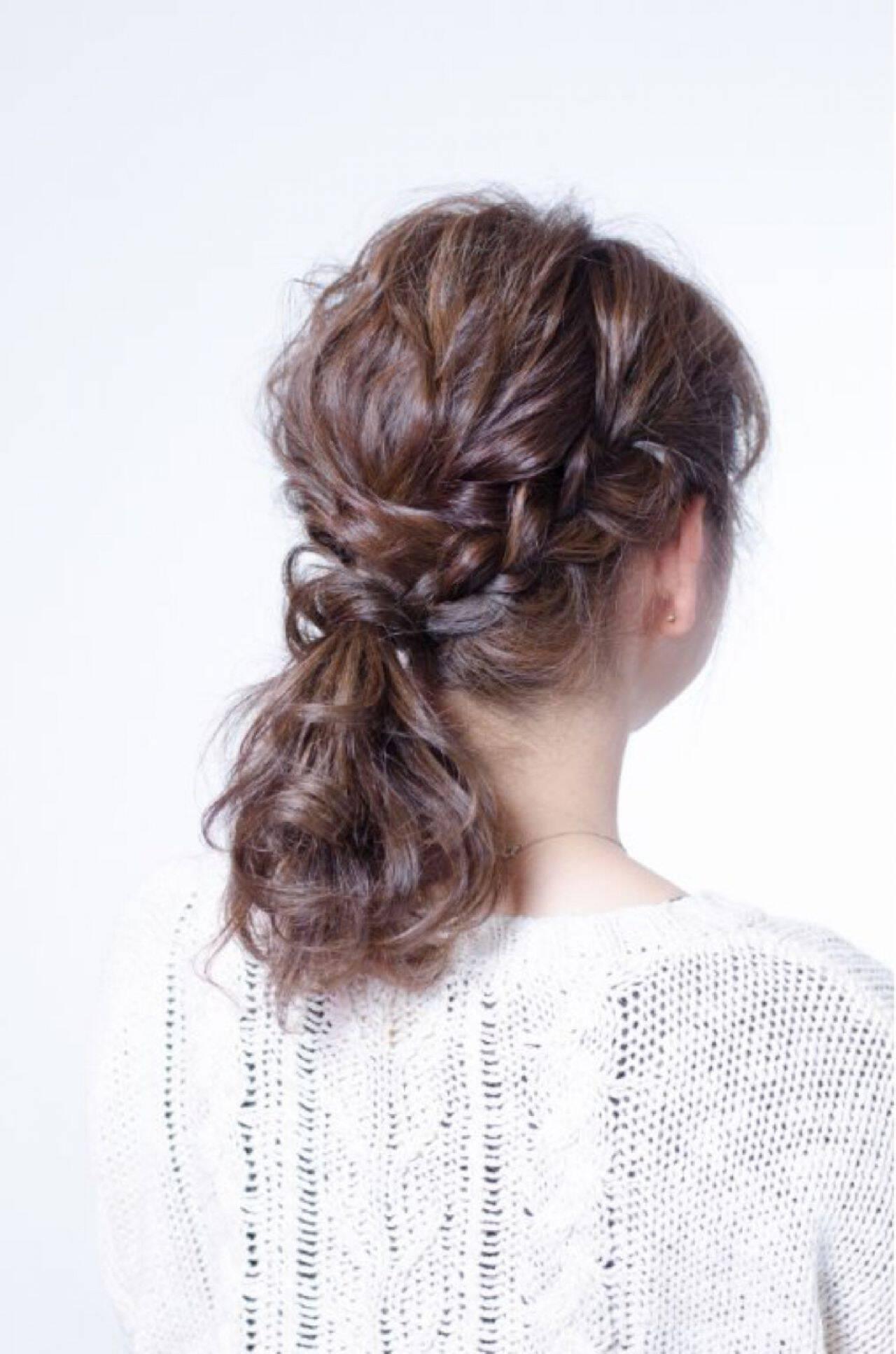 ナチュラル 簡単ヘアアレンジ ゆるふわ ショートヘアスタイルや髪型の写真・画像