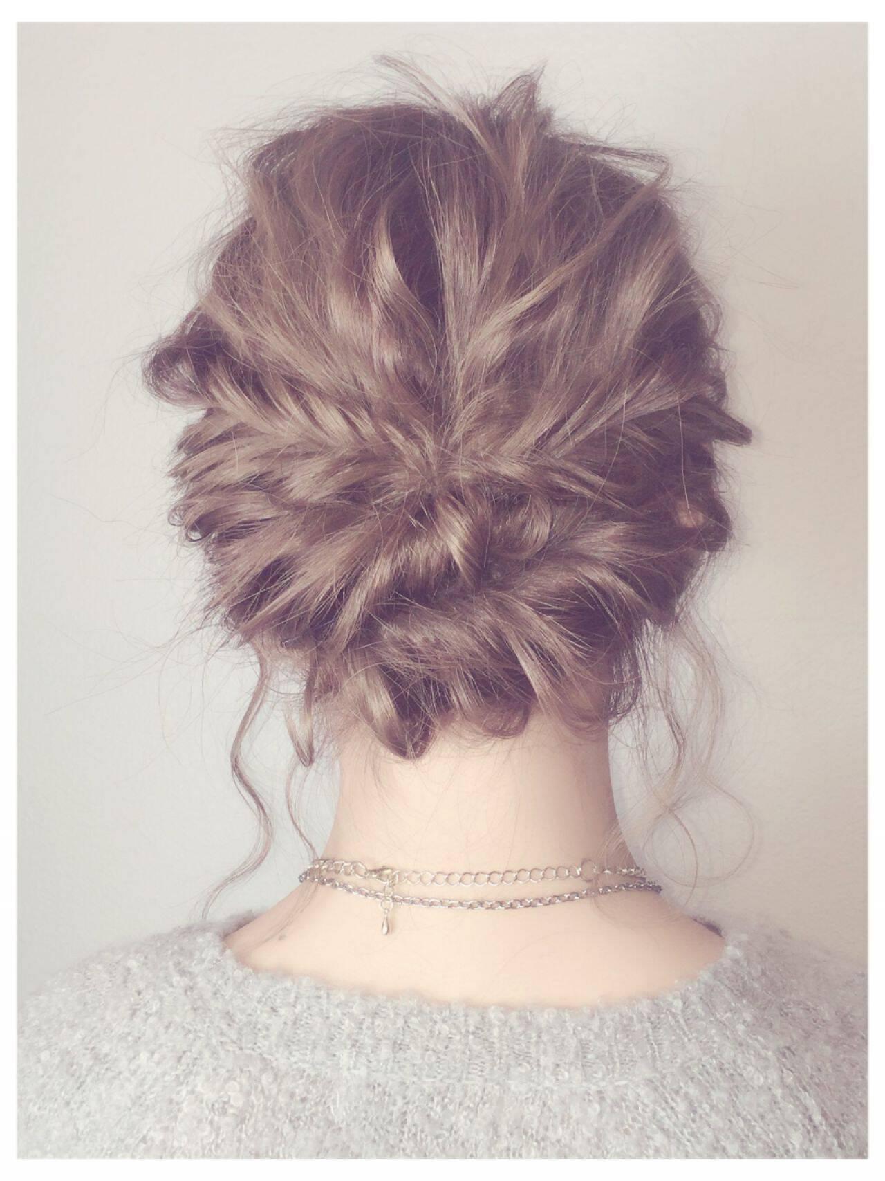 アップスタイル ゆるふわ 編み込み モテ髪ヘアスタイルや髪型の写真・画像