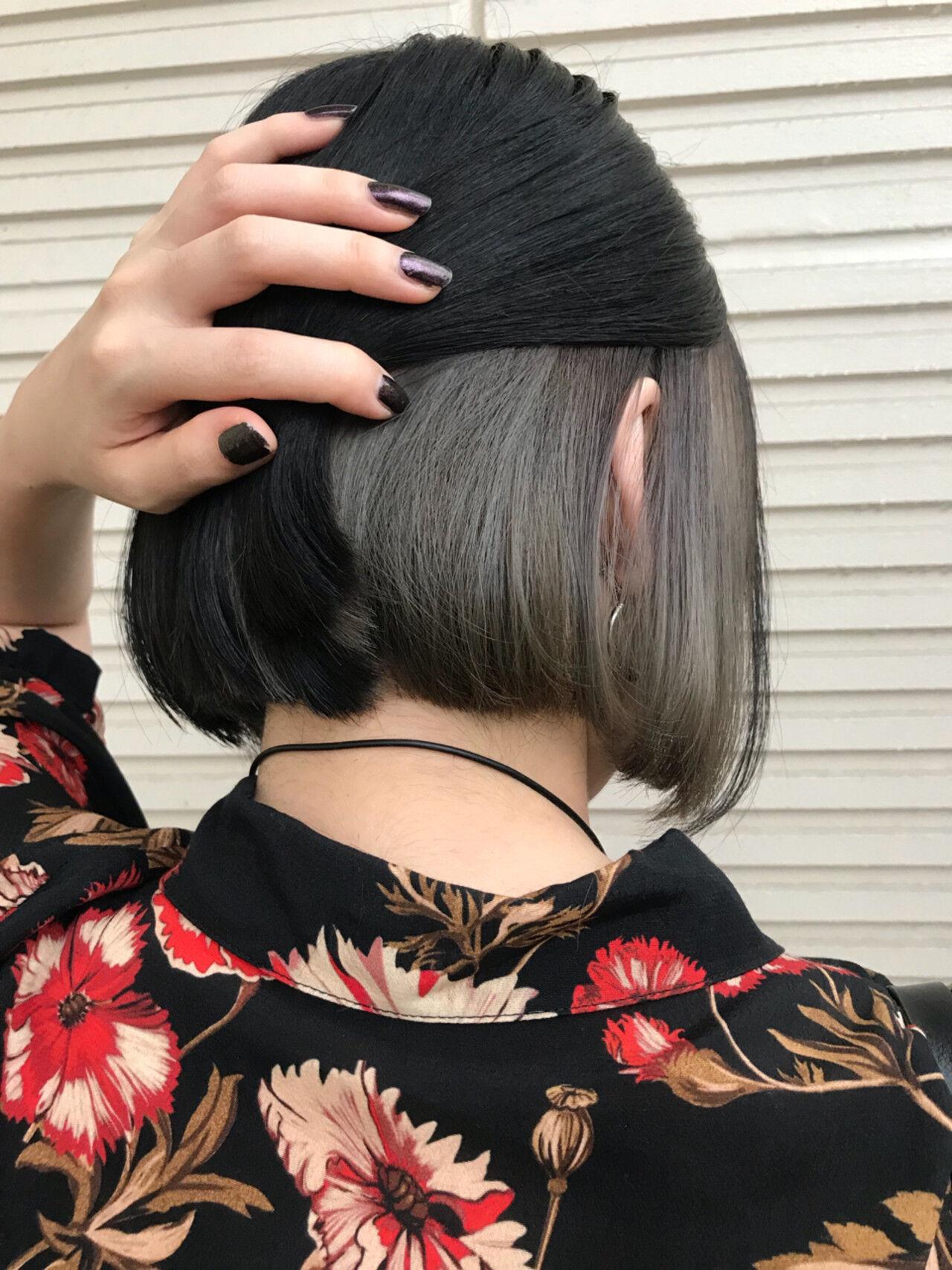 モード ボブ インナーカラー 女子力ヘアスタイルや髪型の写真・画像