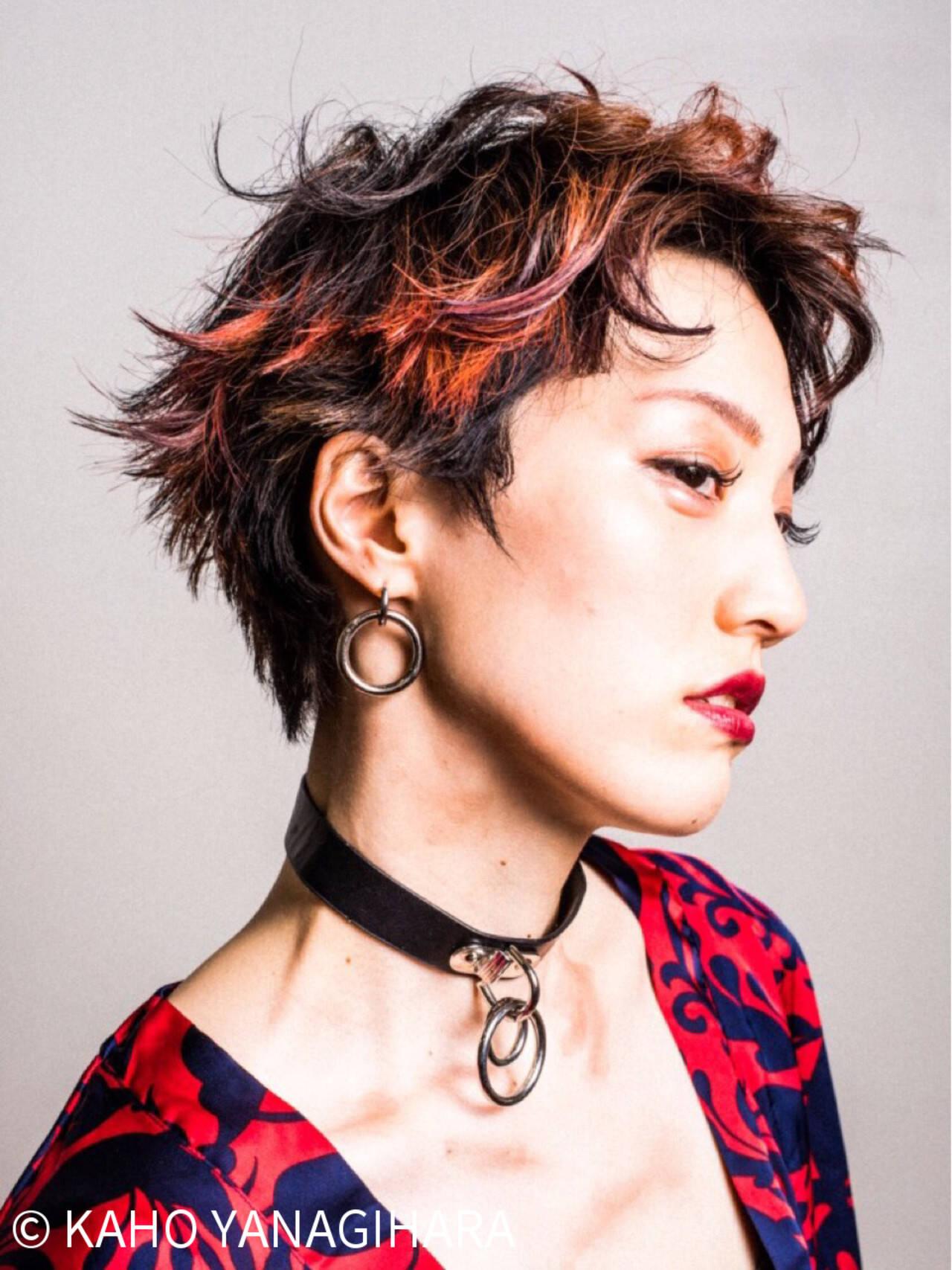 ショート レッド パーマ モードヘアスタイルや髪型の写真・画像