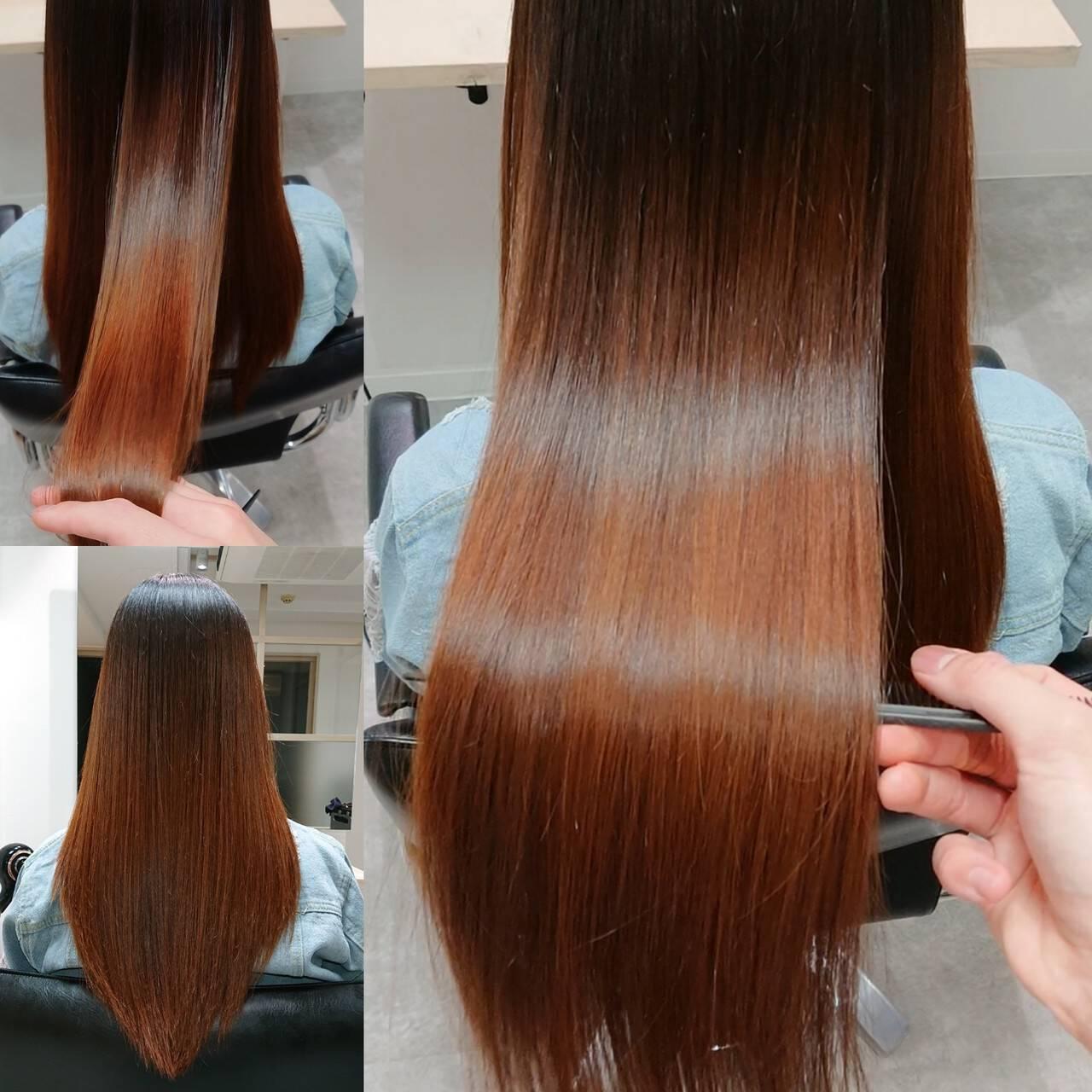 ロング 縮毛矯正 美髪 髪質改善ヘアスタイルや髪型の写真・画像