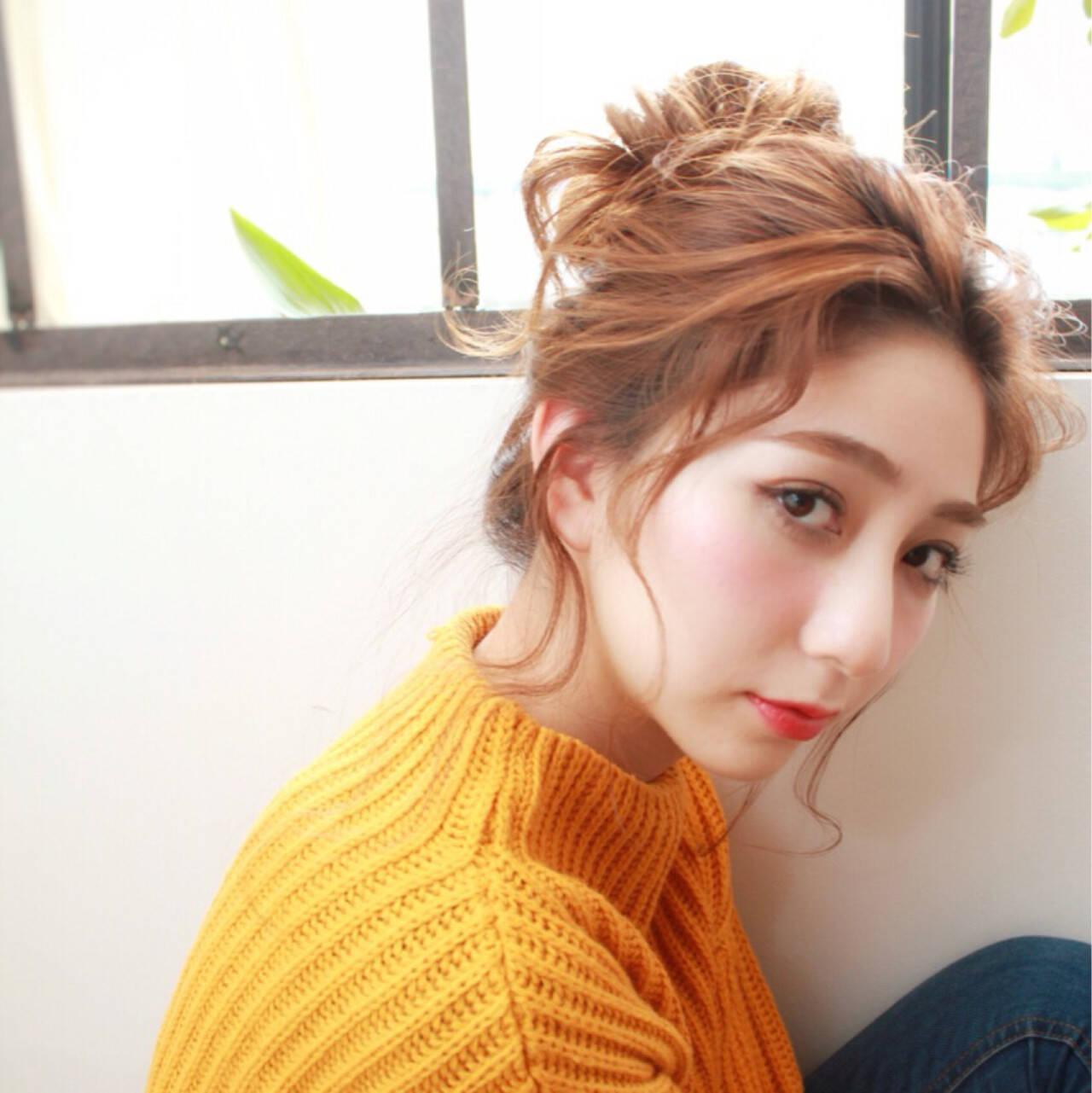 お団子 大人かわいい ヘアアレンジ 簡単ヘアアレンジヘアスタイルや髪型の写真・画像