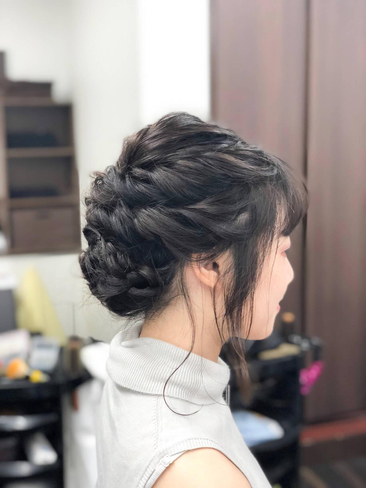 結婚式 ミディアム ロープ編みアレンジヘア ヘアセットヘアスタイルや髪型の写真・画像